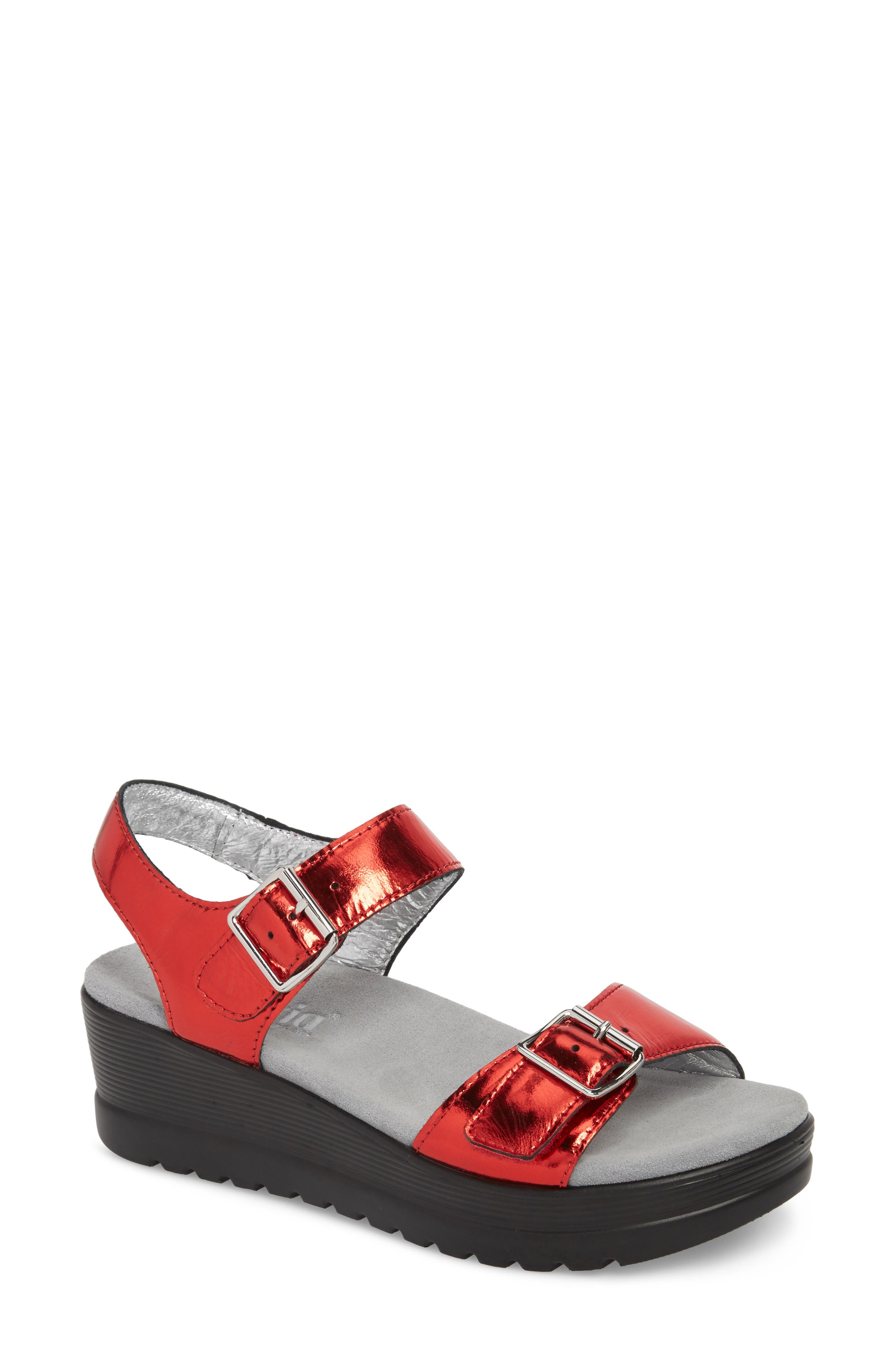 ALEGRIA by PG Lite Morgyn Sandal, Main, color, CHERRY MIRROR LEATHER