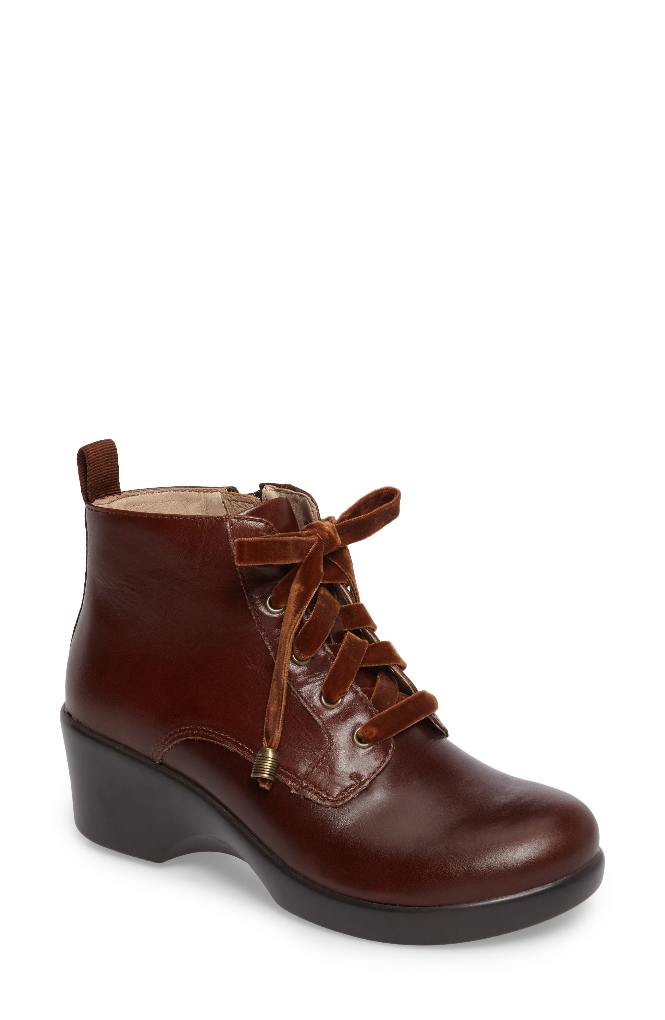ALEGRIA, Eliza Water Resistant Bootie, Main thumbnail 1, color, CHESTNUT LUSTER LEATHER