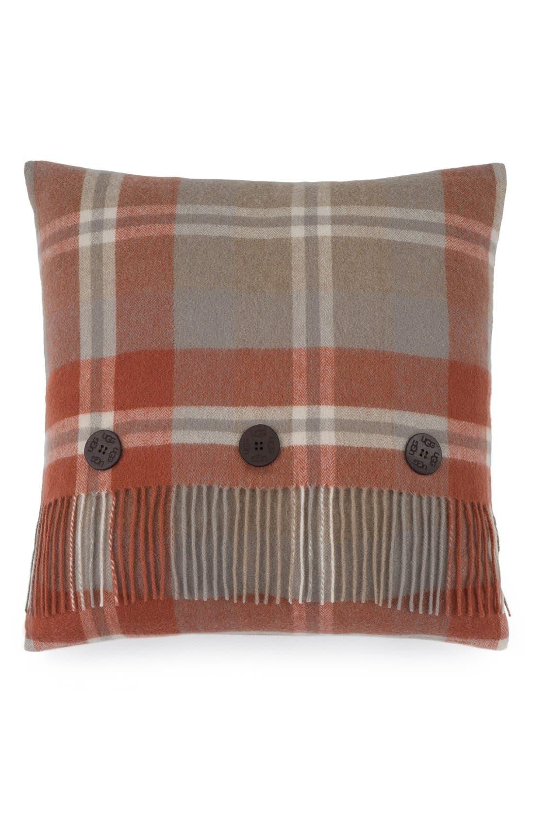 UGG<SUP>®</SUP>, 'Glacier Plaid' Wool Pillow, Main thumbnail 1, color, 600