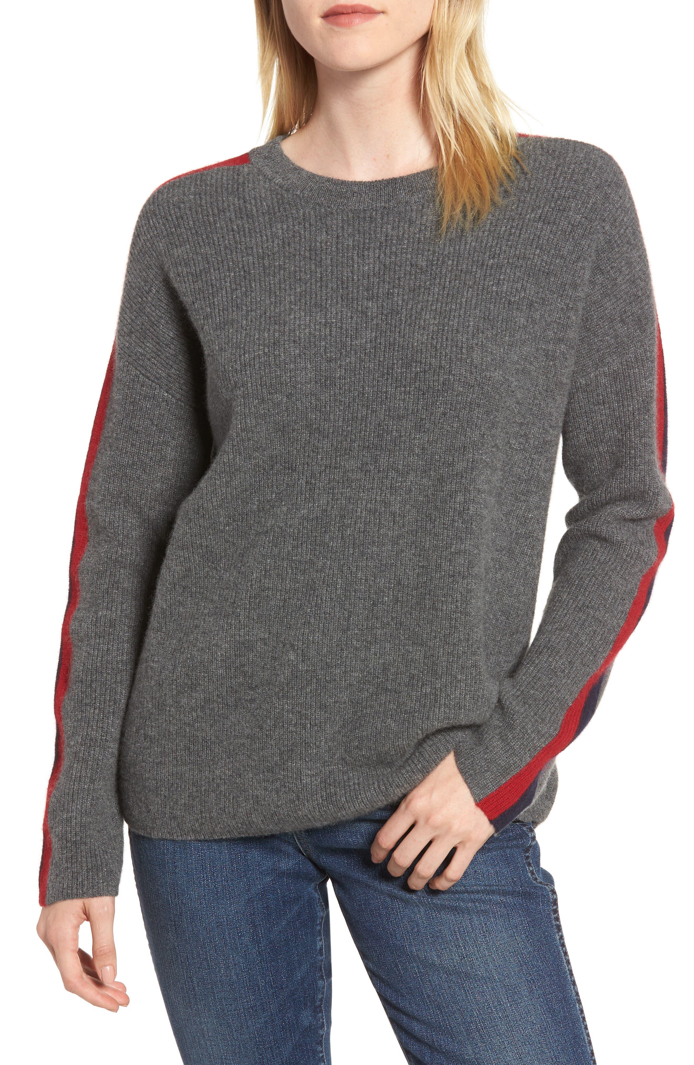 VELVET BY GRAHAM & SPENCER, Stripe Sleeve Cashmere Sweater, Main thumbnail 1, color, DARK GREY