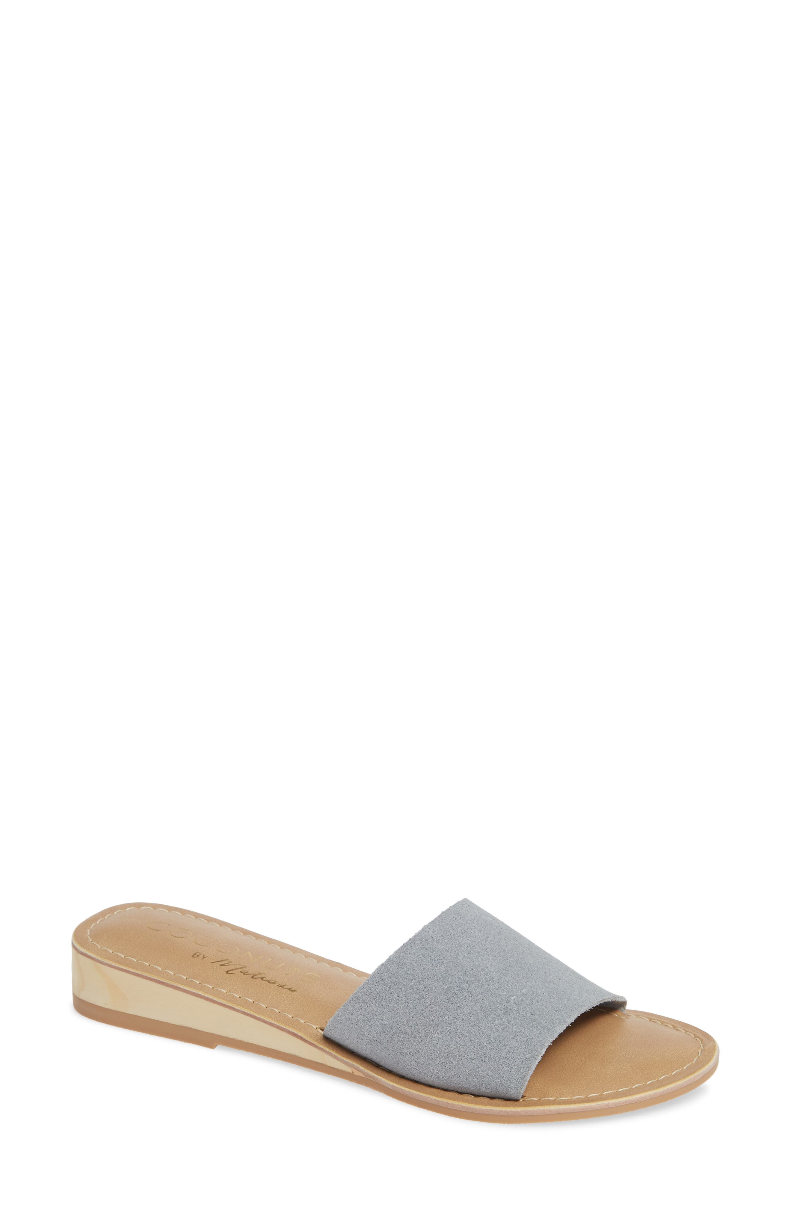 COCONUTS BY MATISSE, Tiki Slide Sandal, Main thumbnail 1, color, GREY SUEDE