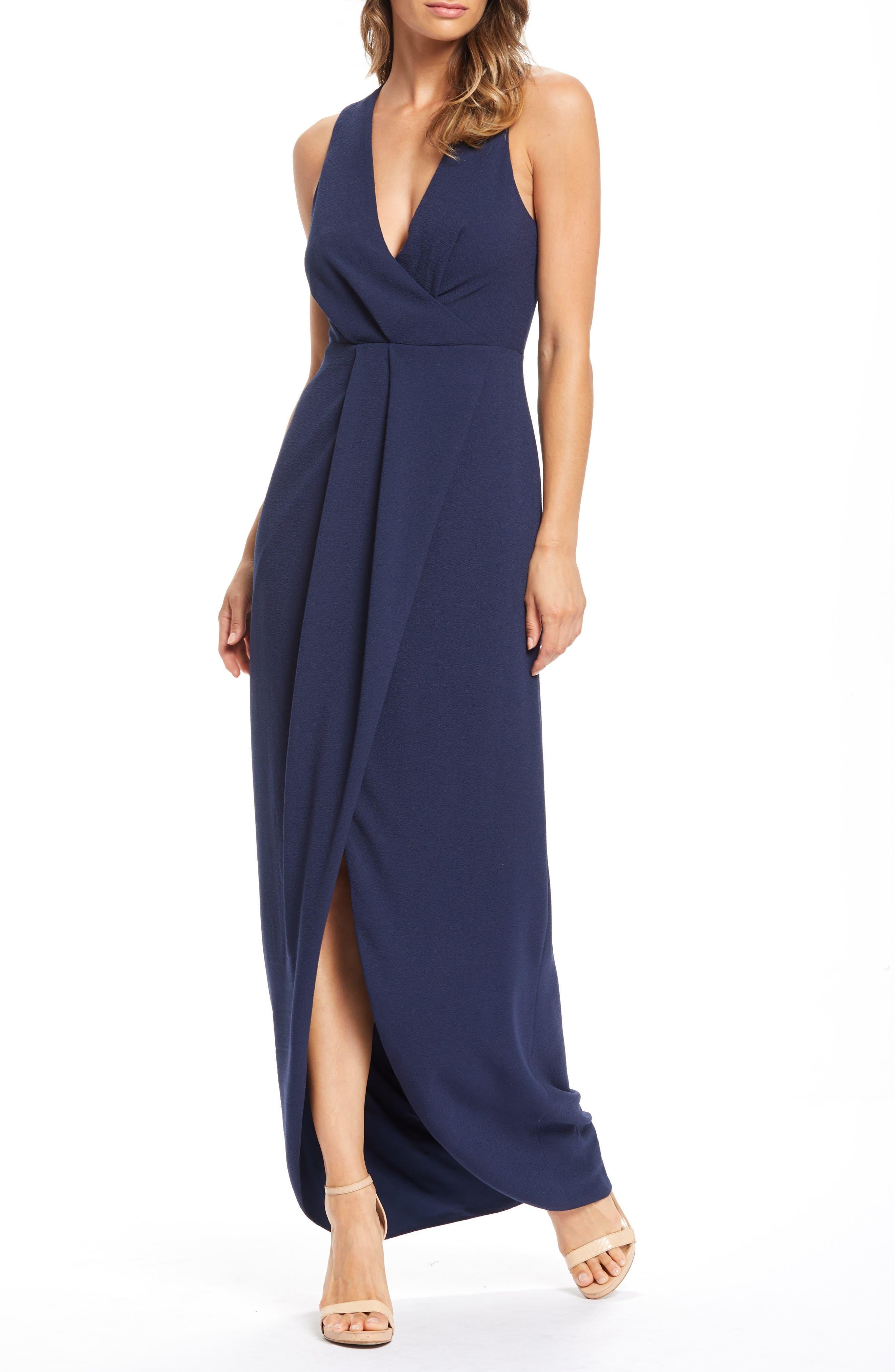 Dress The Population Ariel Racerback Faux Wrap Evening Dress, Blue