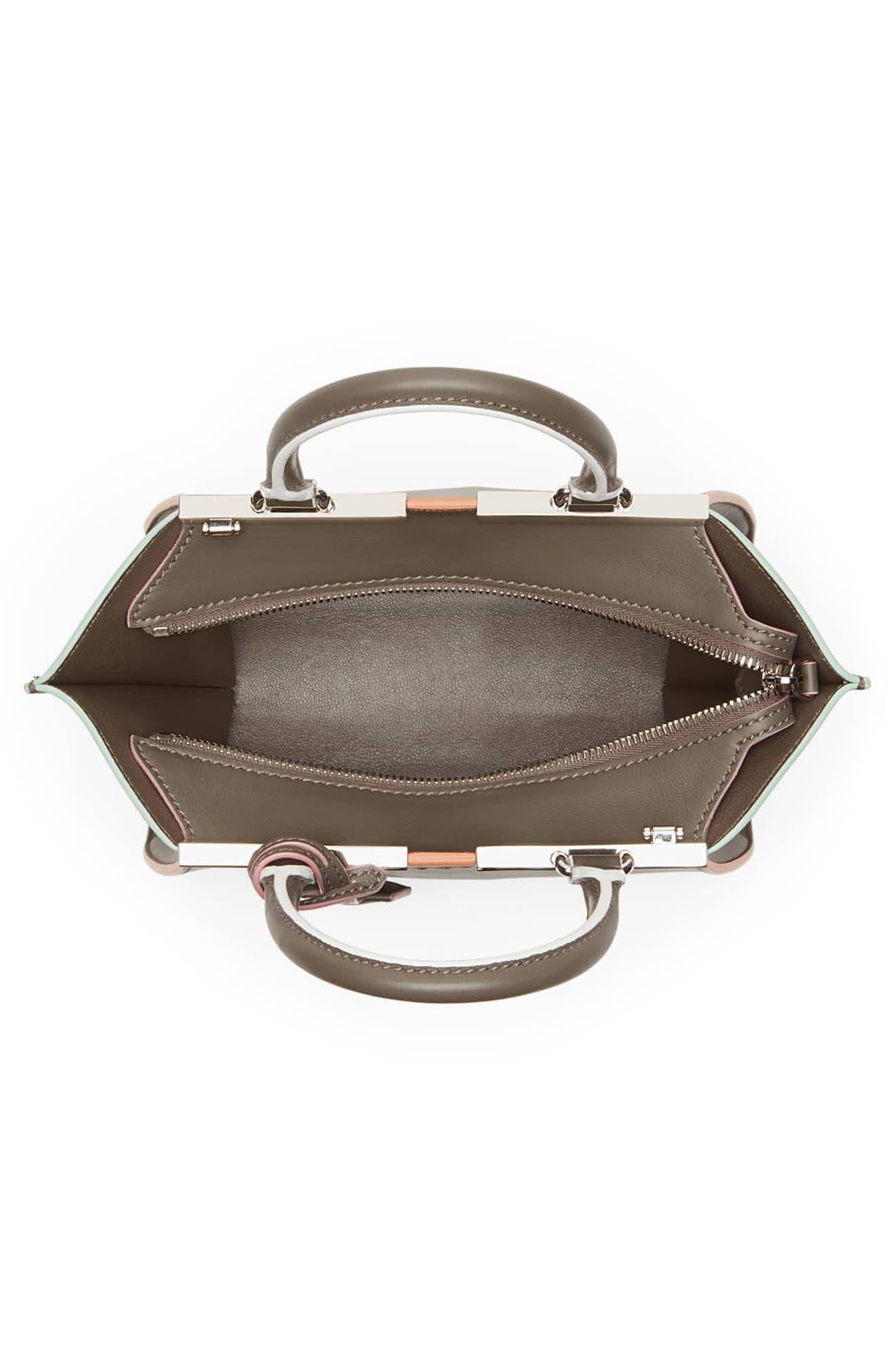 FENDI, 'Mini 3Jours' Calfskin Leather Shopper, Alternate thumbnail 4, color, 077