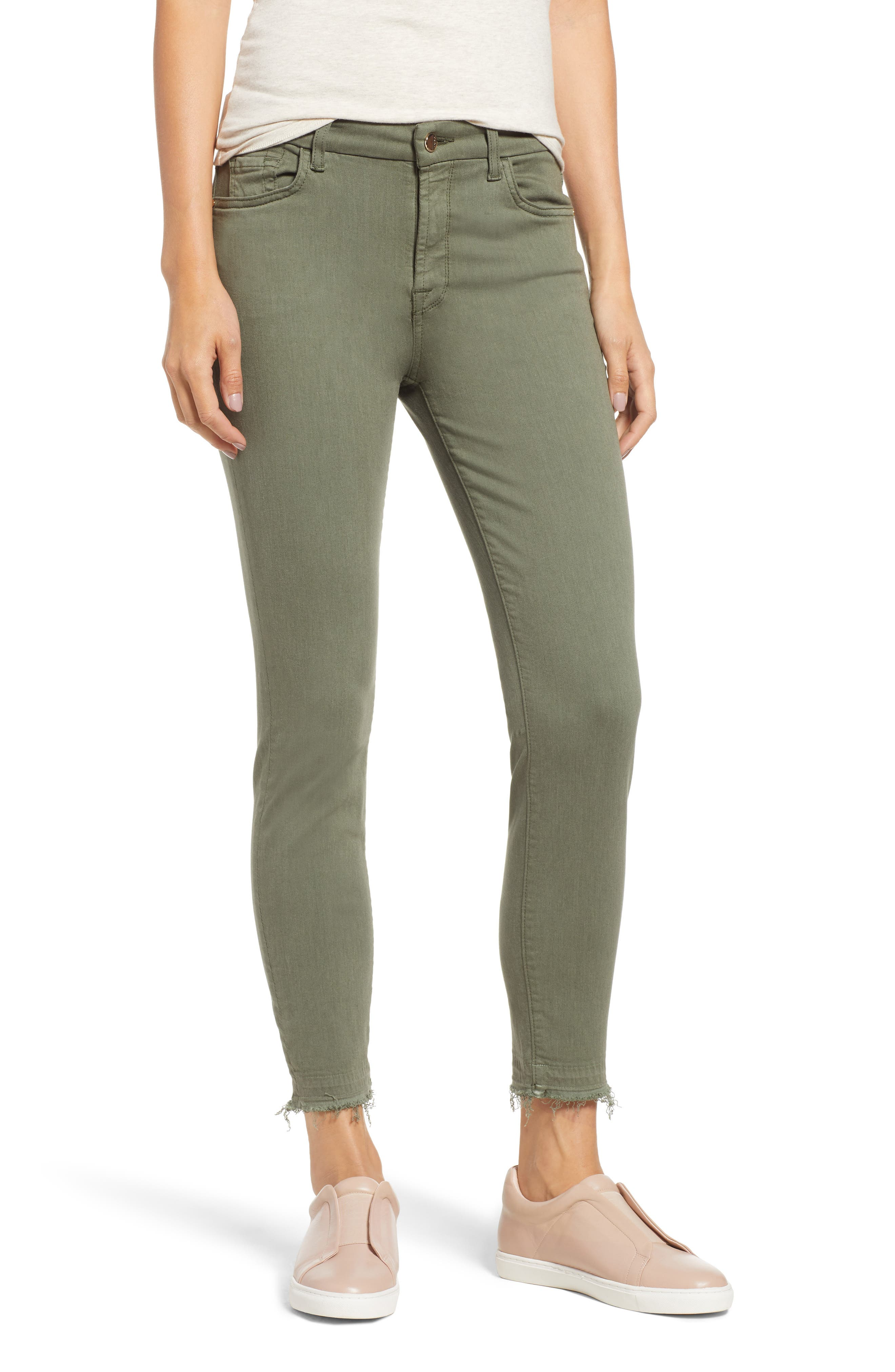 JEN7 BY 7 FOR ALL MANKIND, Release Hem Colored Ankle Skinny Jeans, Main thumbnail 1, color, WASHED FATIGUE
