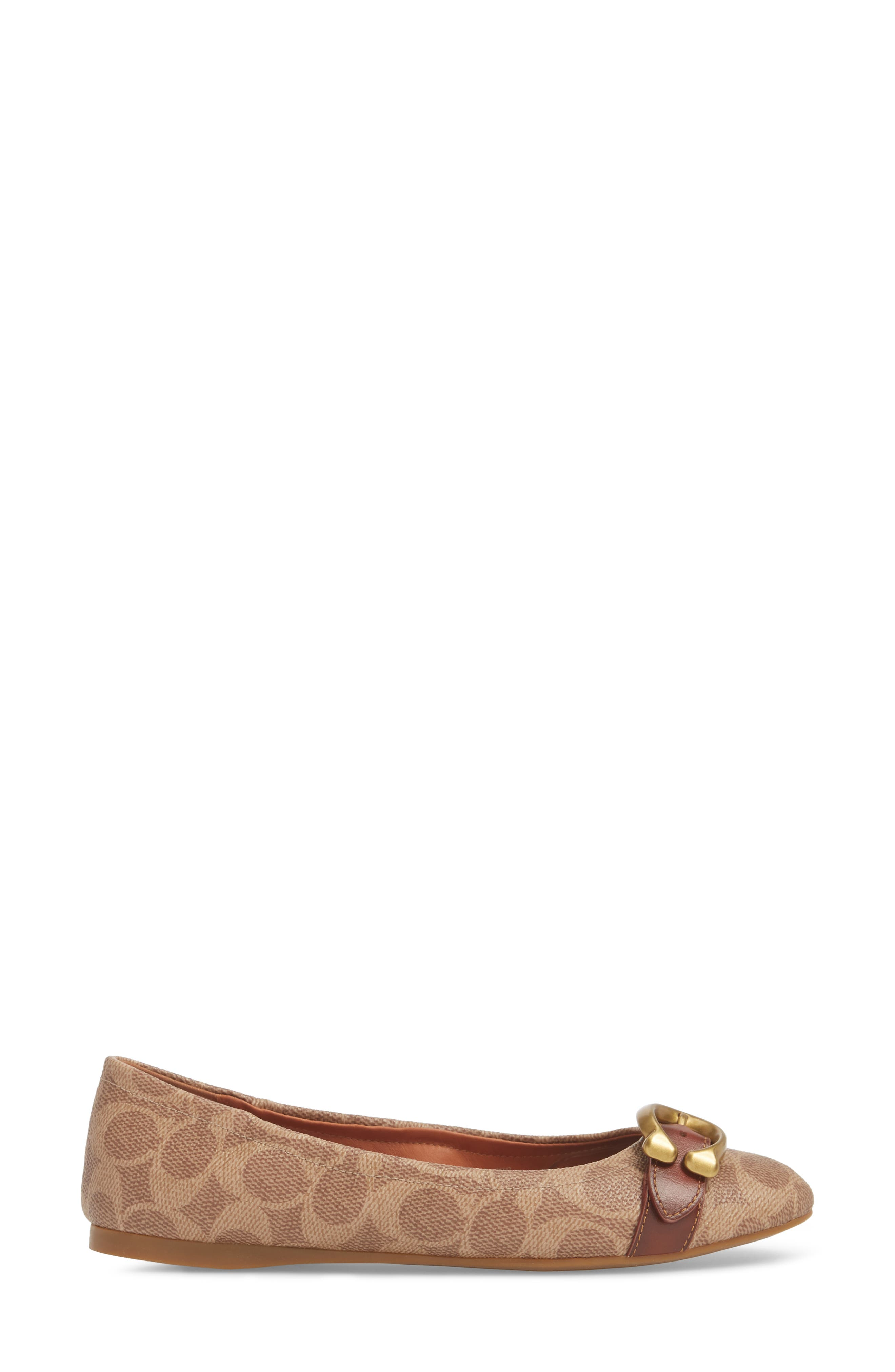 COACH, Stanton Buckle Flat, Alternate thumbnail 3, color, BROWN LEATHER