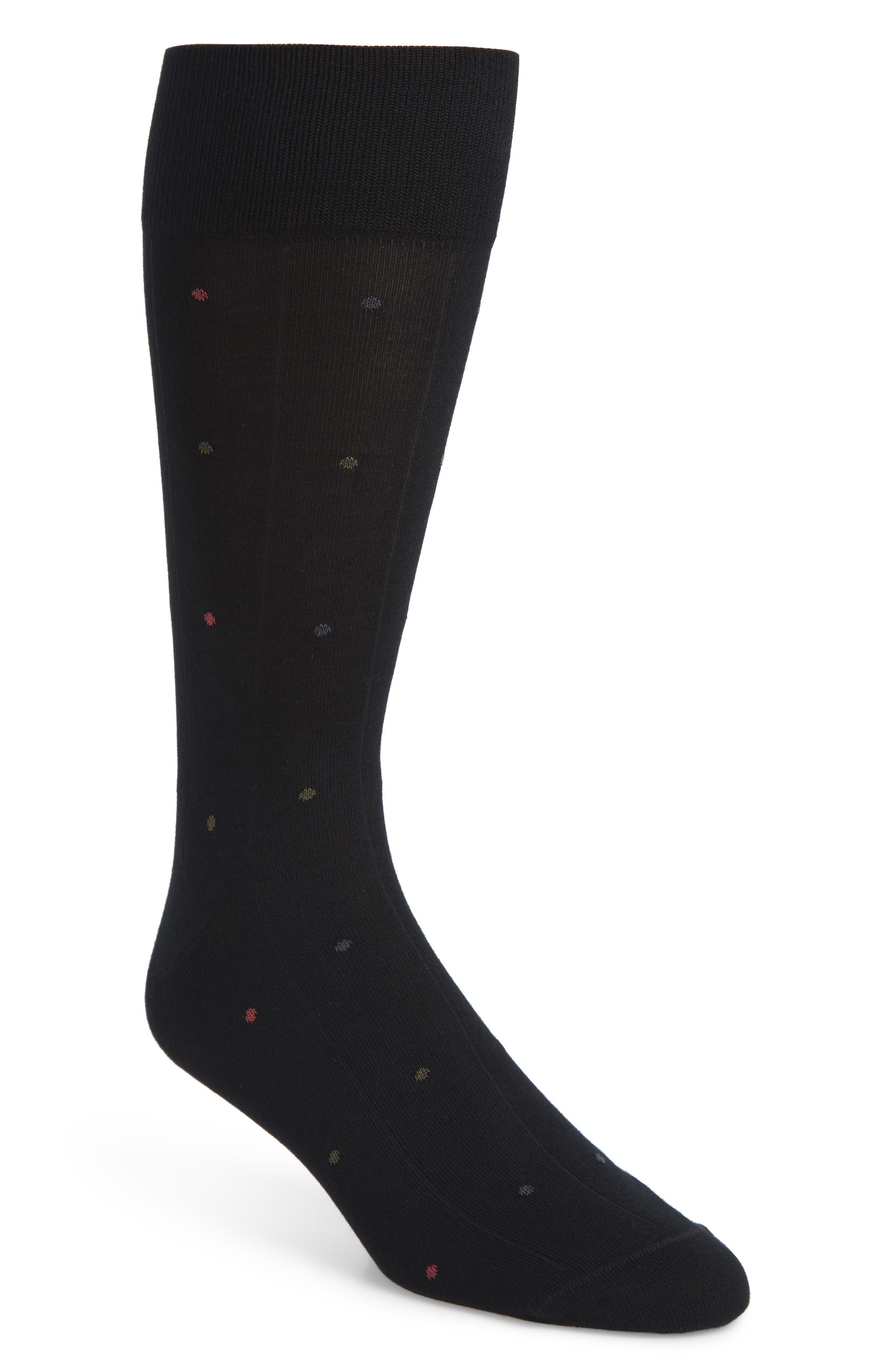 JOHN W. NORDSTROM<SUP>®</SUP>, Dot Socks, Main thumbnail 1, color, BLACK/ OLIVE
