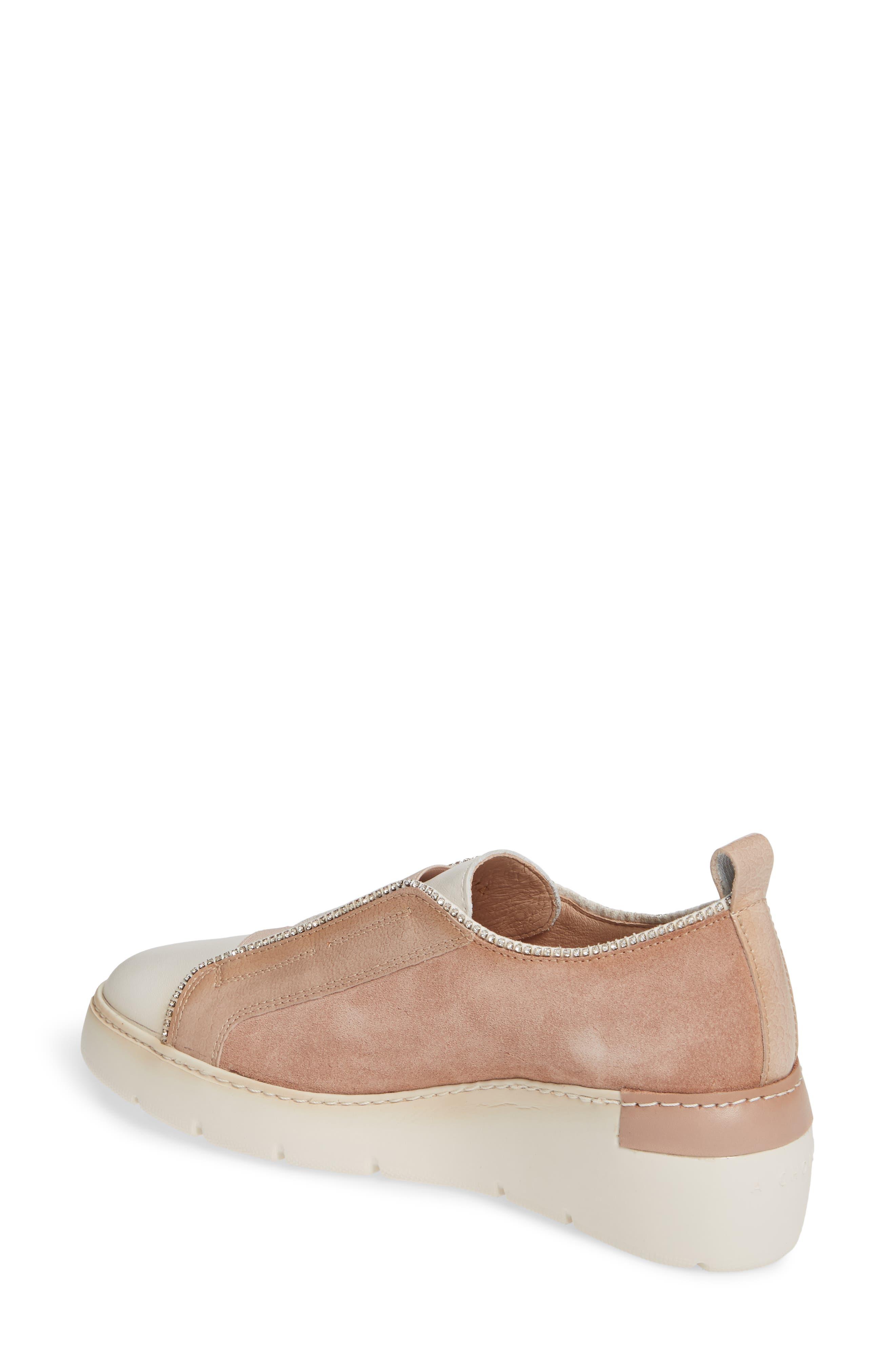 HISPANITAS, Benton Slip-On Wedge Sneaker, Alternate thumbnail 2, color, VELOUR FLESH LEATHER
