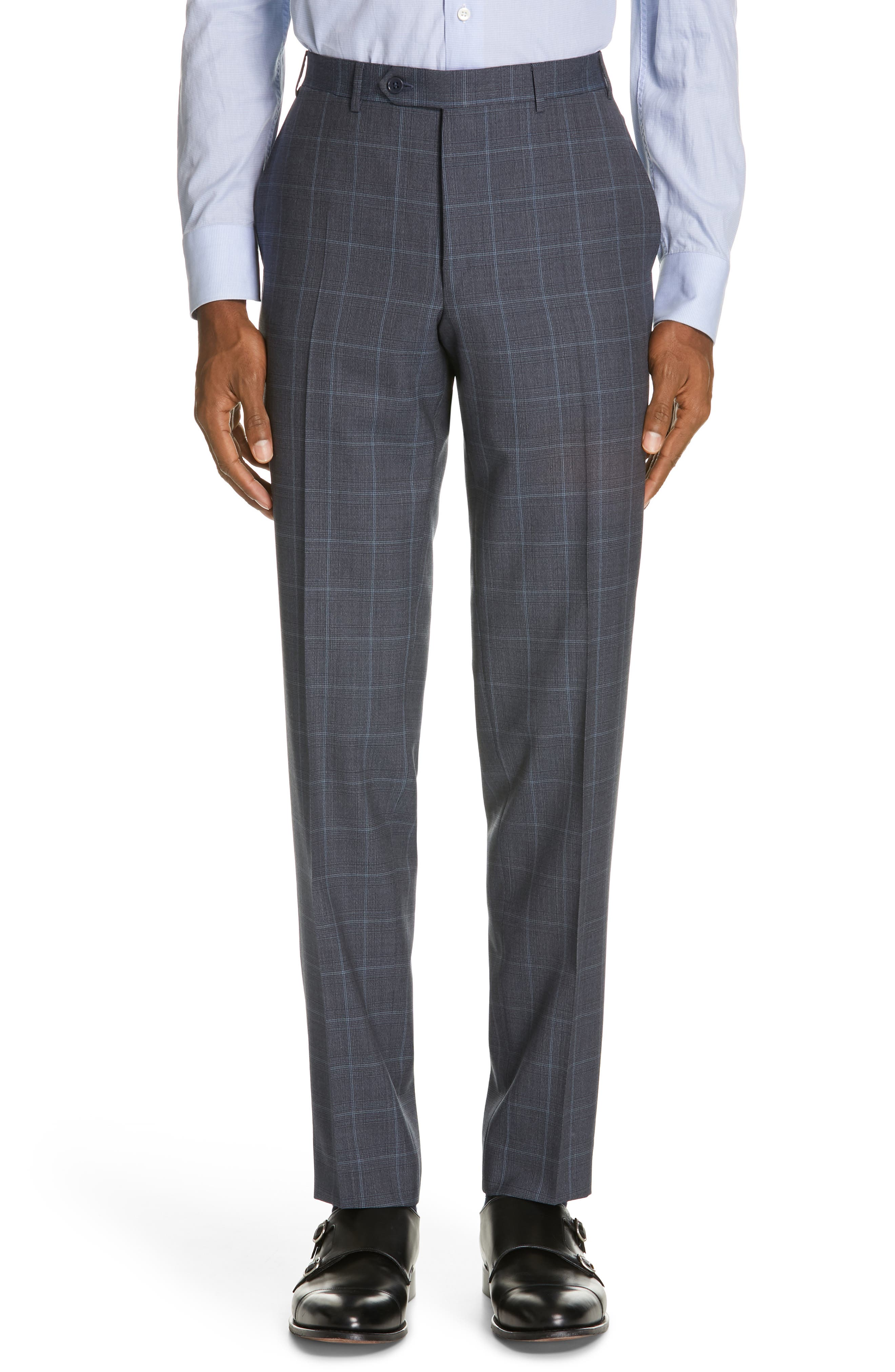 CANALI, Siena Soft Classic Fit Plaid Wool Suit, Alternate thumbnail 6, color, CHARCOAL