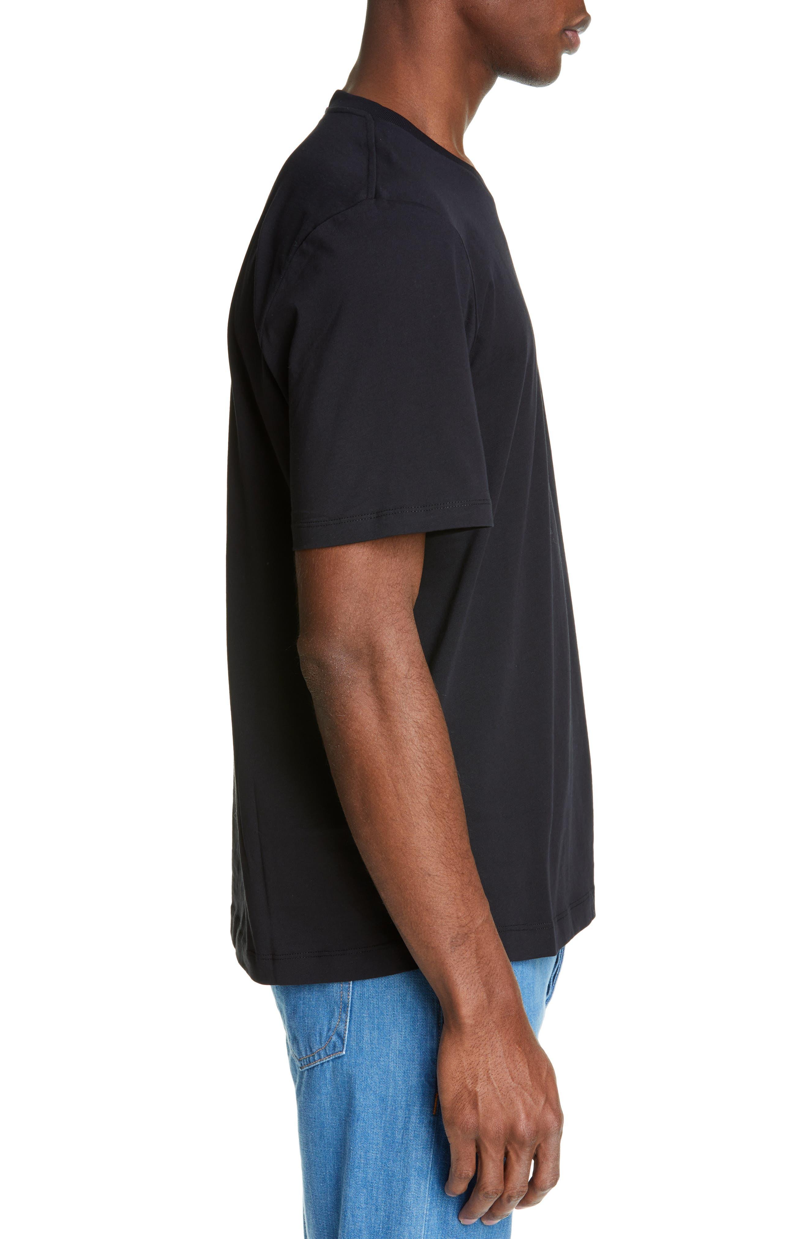 HELMUT LANG, Stacked Logo T-Shirt, Alternate thumbnail 3, color, BLACK BASALT