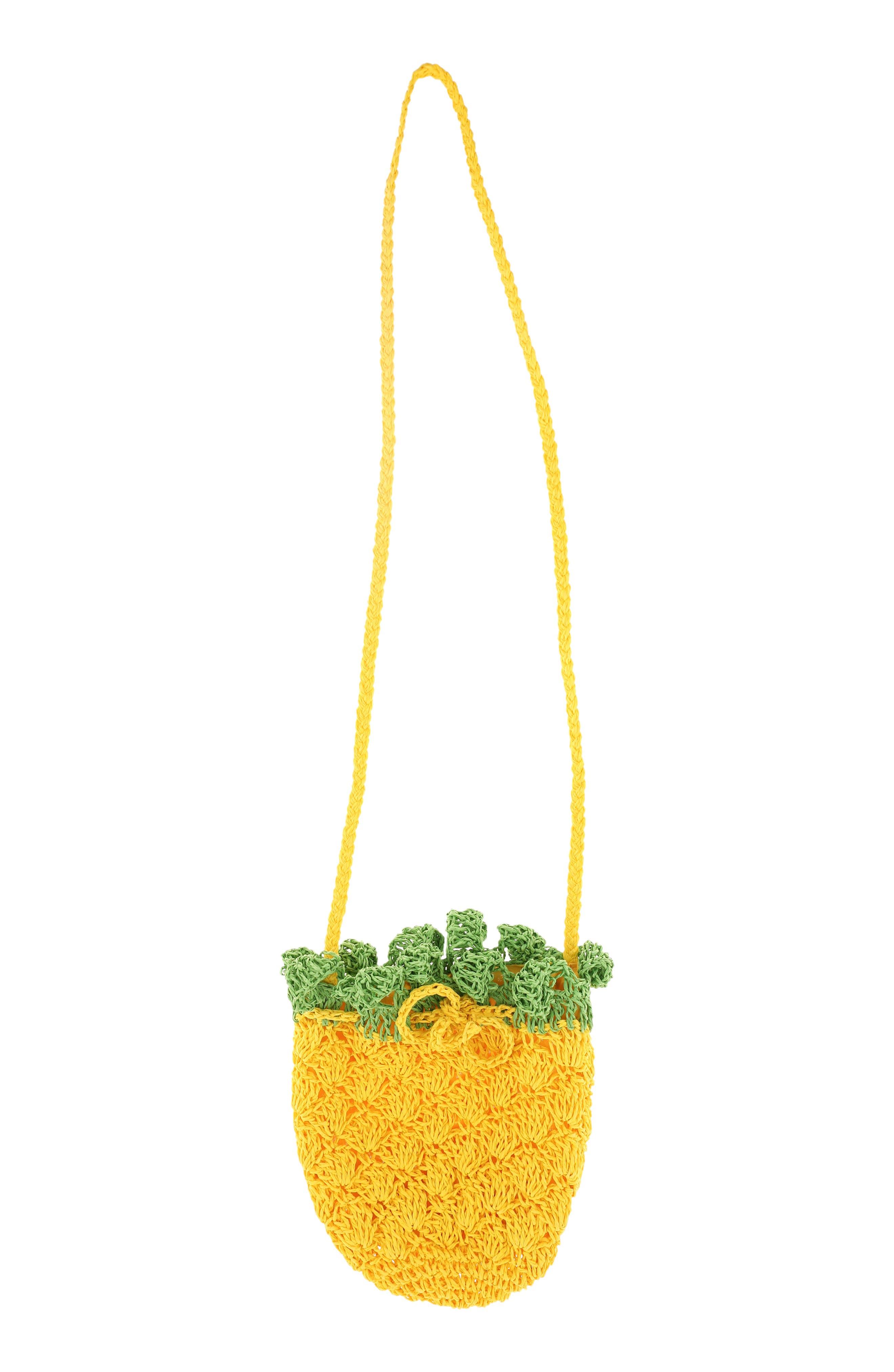 CAPELLI NEW YORK, Crochet Pineapple Crossbody Bag, Alternate thumbnail 4, color, YELLOW COMBO