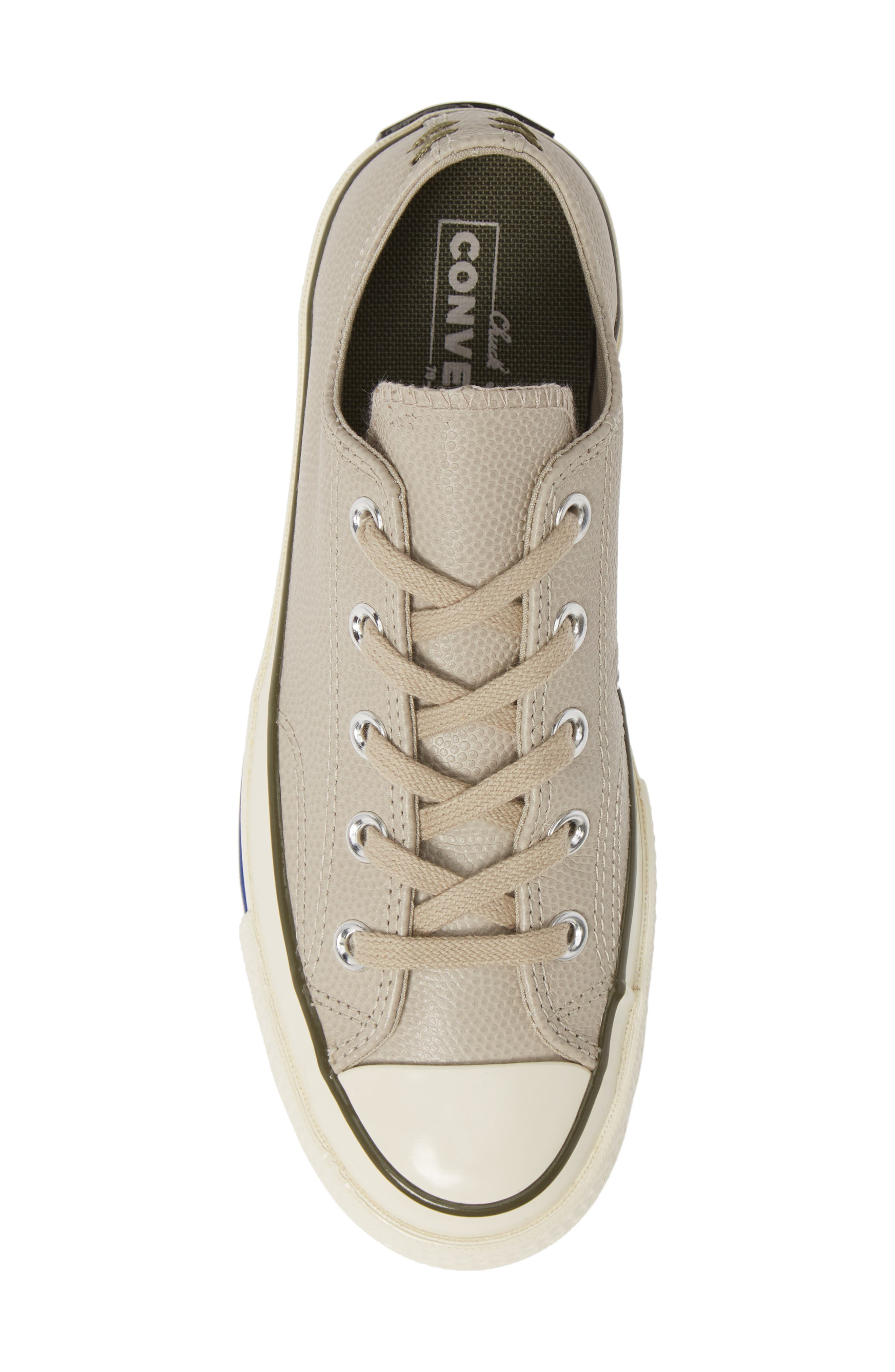 CONVERSE, Chuck Taylor<sup>®</sup> All Star<sup>®</sup> Chuck 70 Ox Leather Sneaker, Alternate thumbnail 5, color, PAPYRUS/ FIELD SURPLUS/ EGRET
