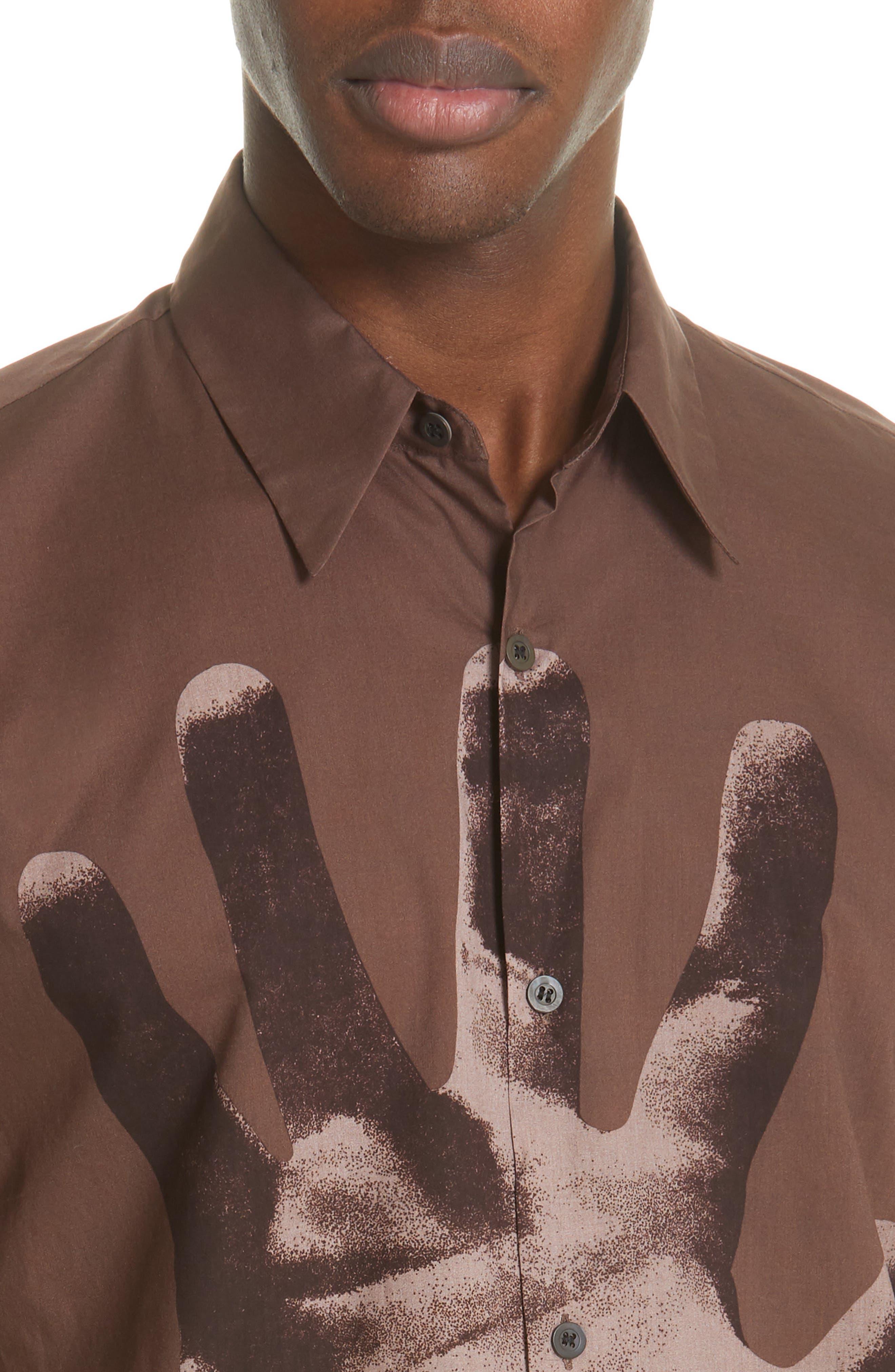 DRIES VAN NOTEN, Clasen Hand Print Shirt, Alternate thumbnail 2, color, BROWN