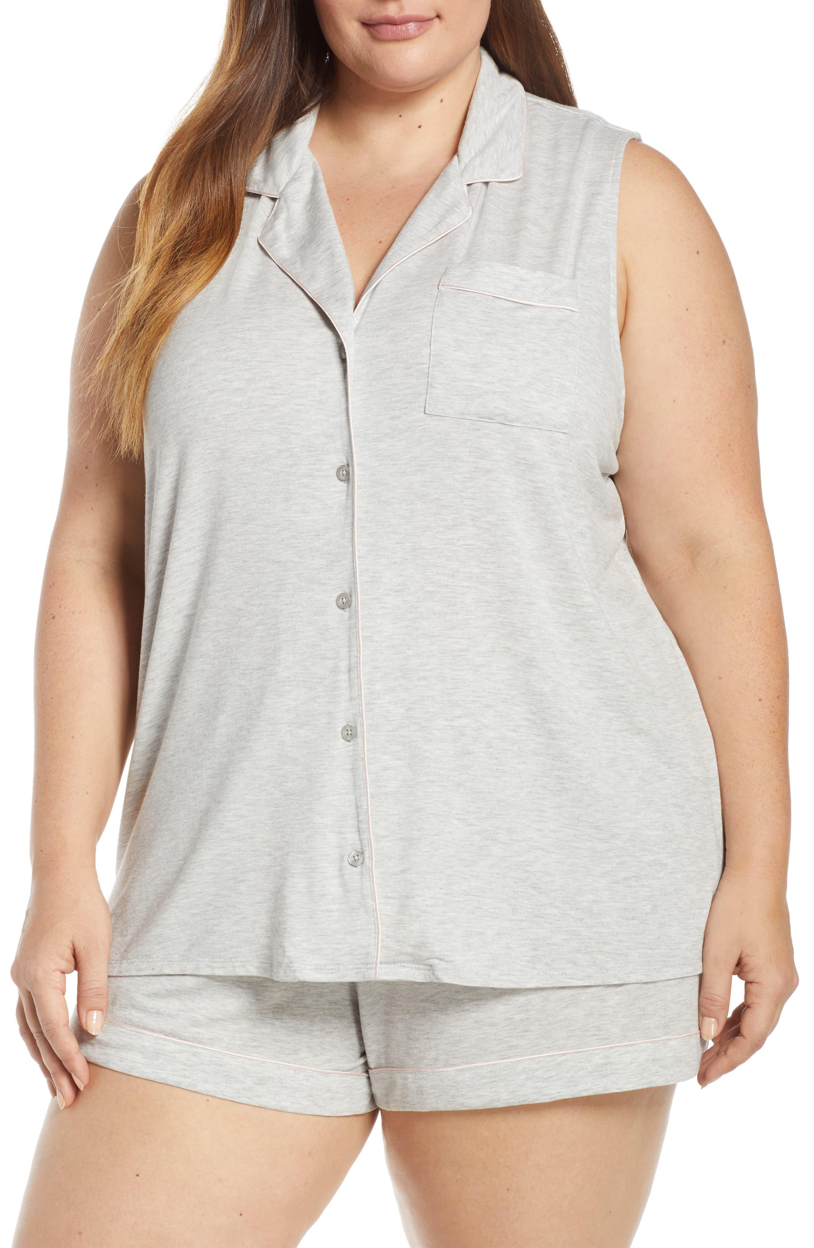 NORDSTROM LINGERIE Moonlight Short Pajamas, Main, color, GREY PEARL HEATHER