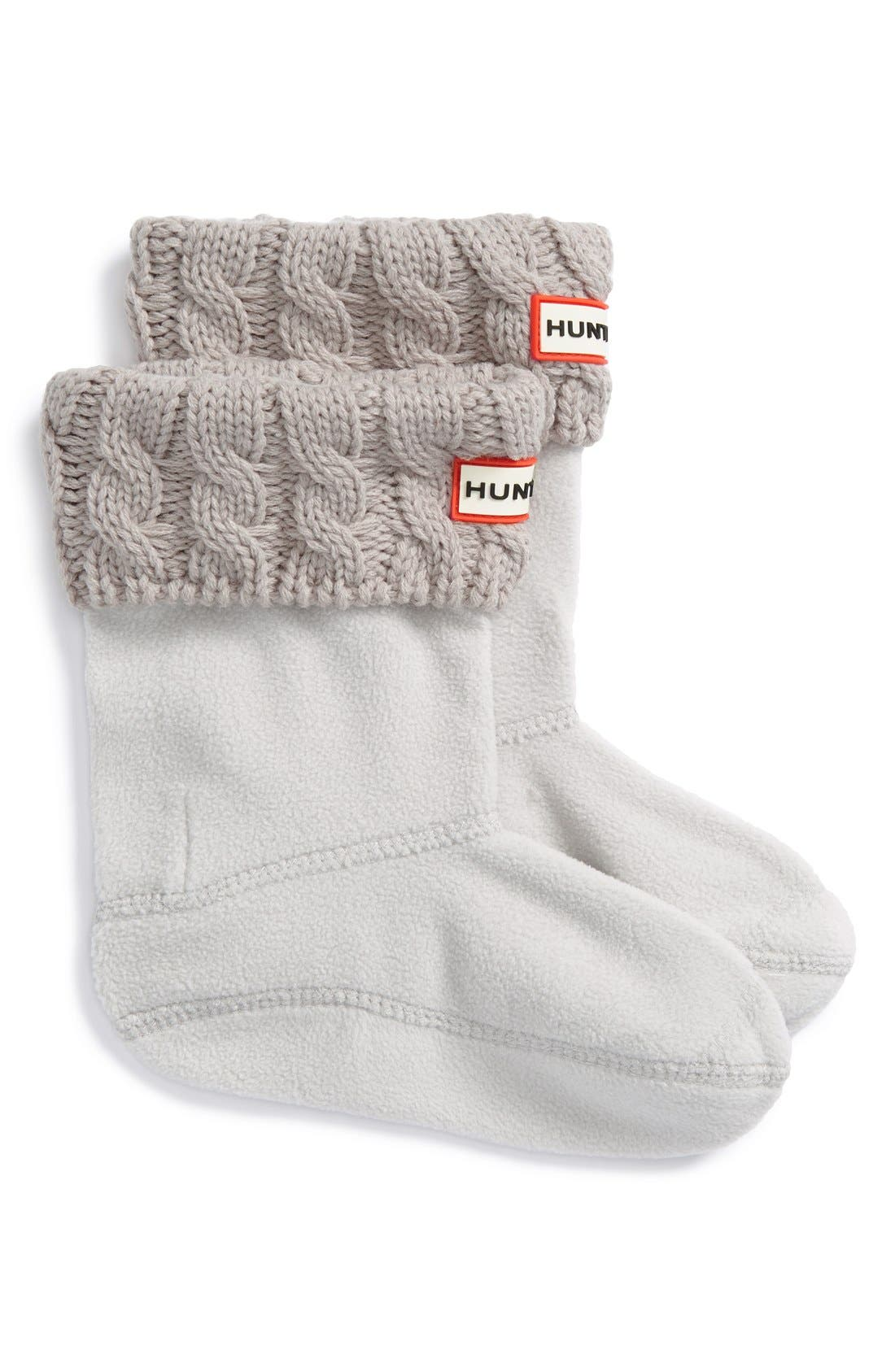 HUNTER, Cable Knit Cuff Welly Boot Socks, Main thumbnail 1, color, GREIGE