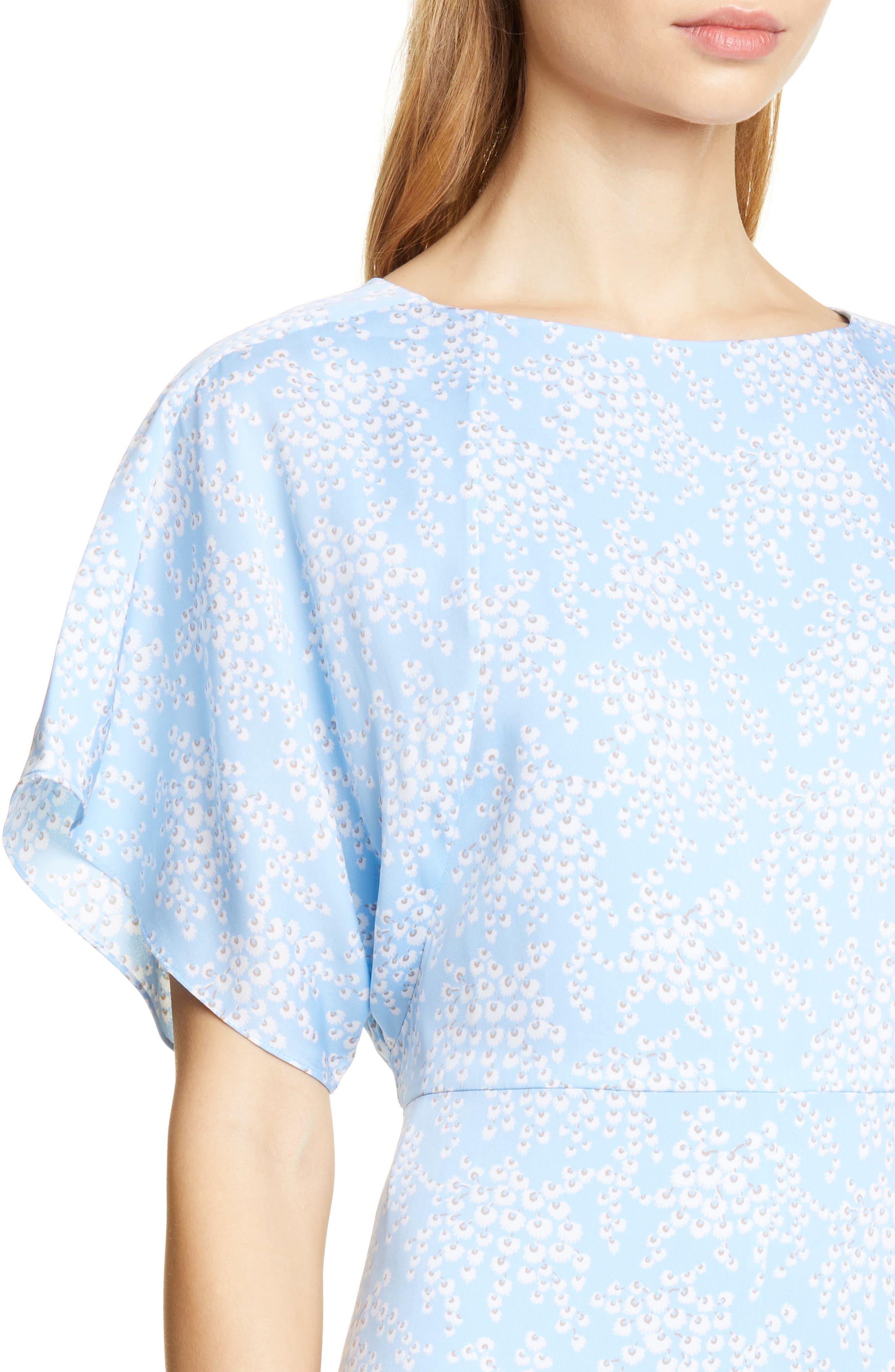 LEWIT, Kimono Sleeve Stretch Silk Dress, Alternate thumbnail 5, color, BLUE SIDDAL FLORAL
