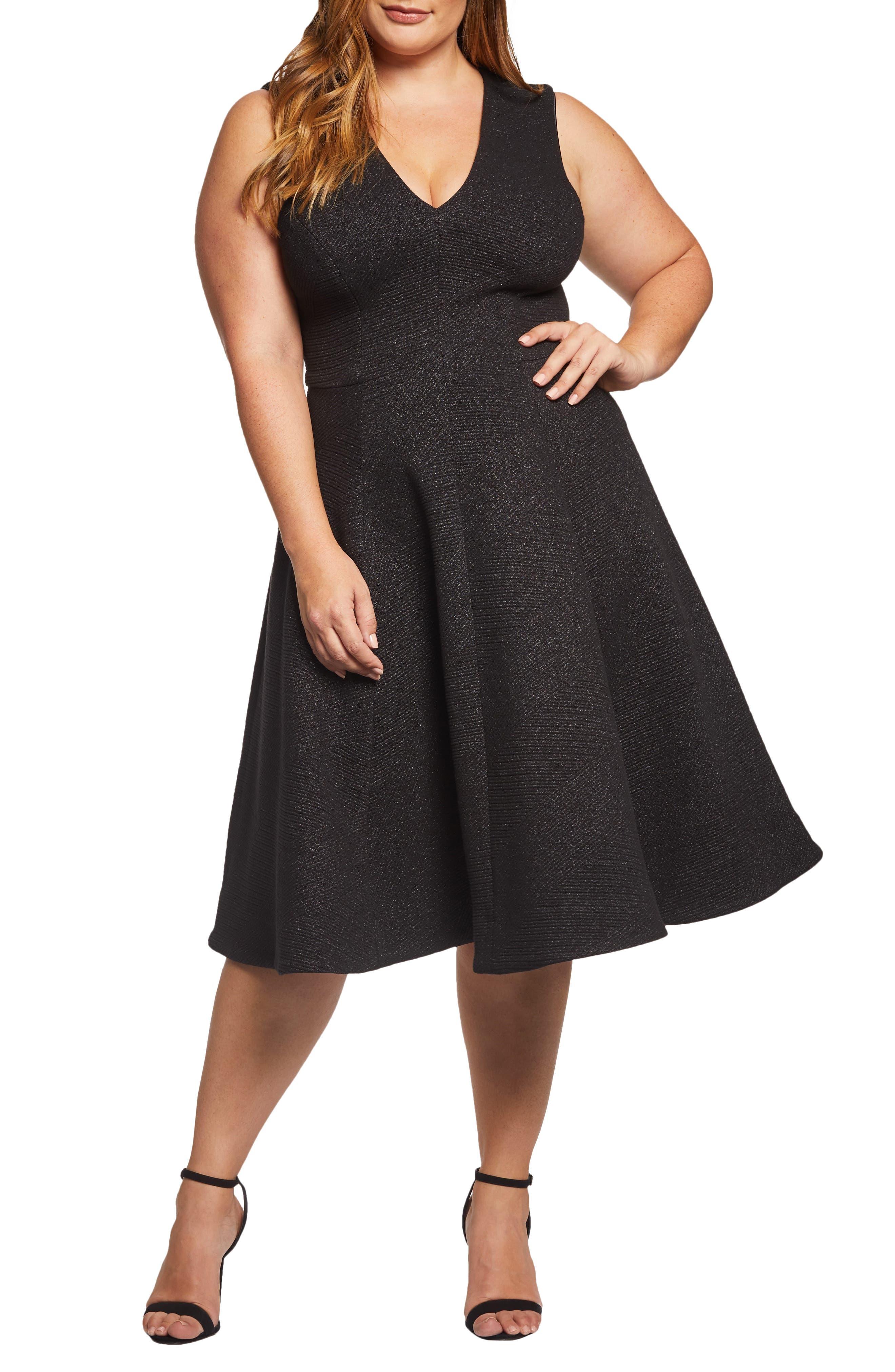 DRESS THE POPULATION, Sleeveless A-Line Dress, Main thumbnail 1, color, BLACK