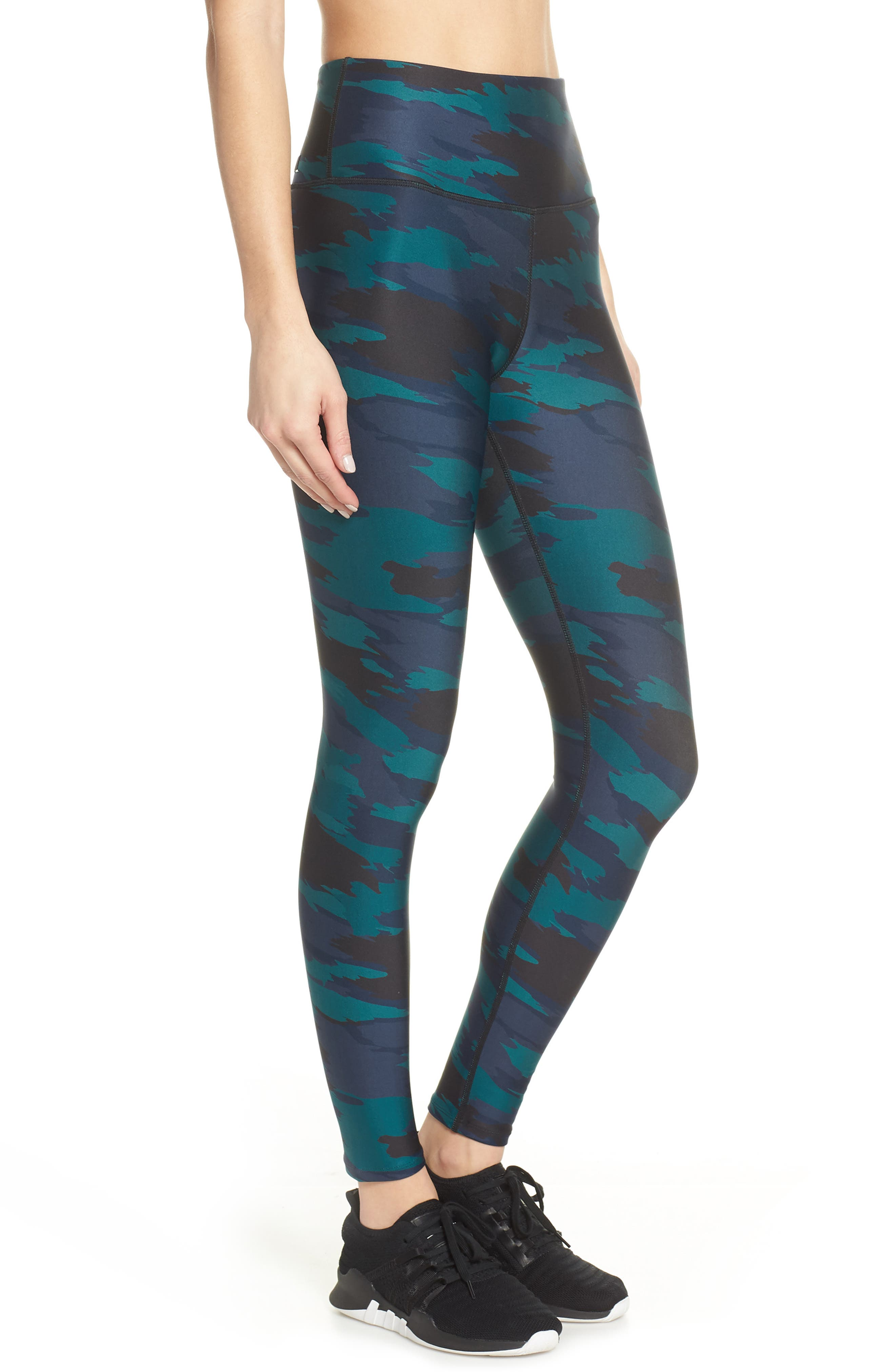 SOUL BY SOULCYCLE, High Waist Camo Tights, Alternate thumbnail 4, color, CAMO