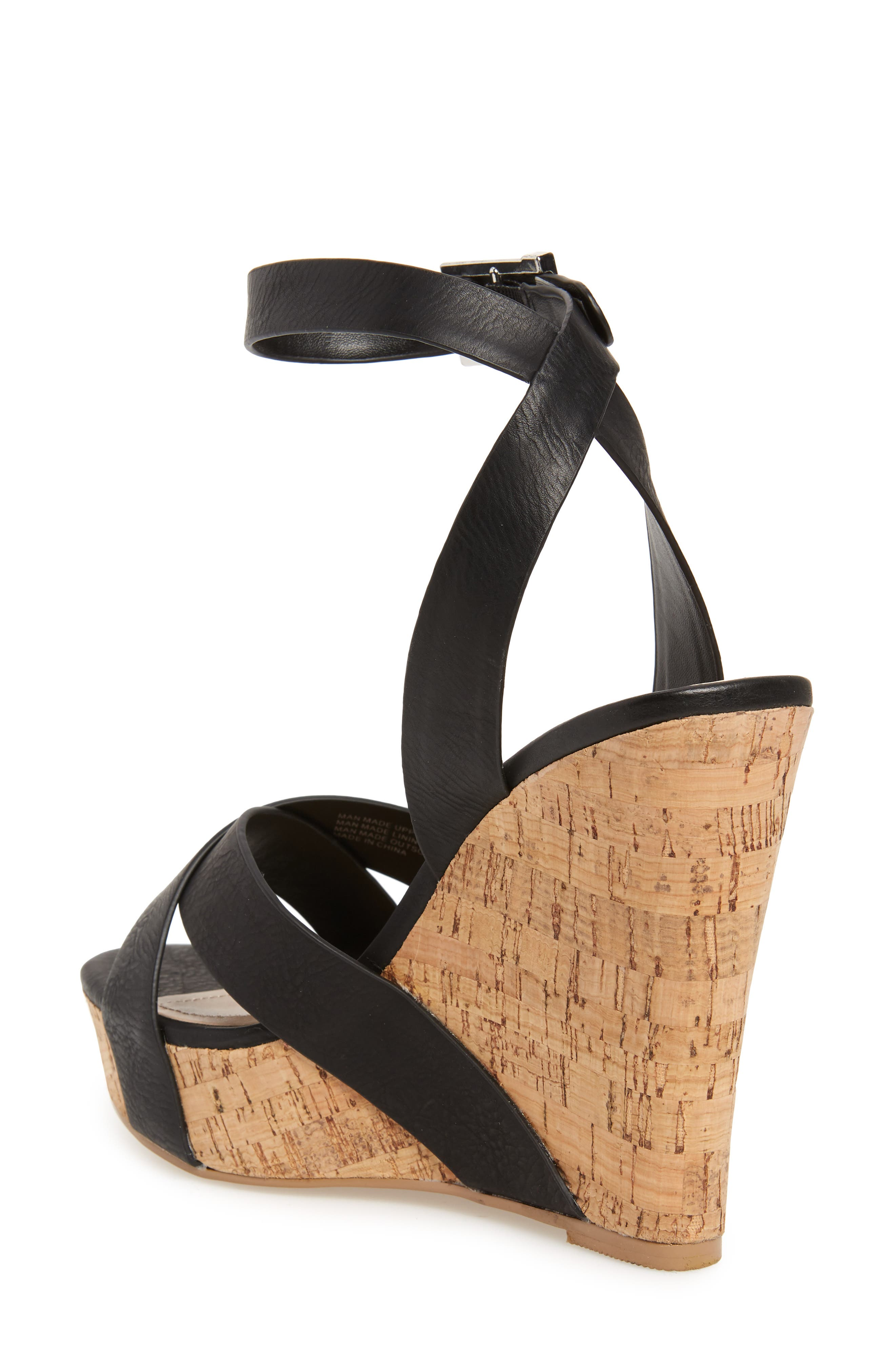 CHARLES BY CHARLES DAVID, Aleck Platform Wedge Sandal, Alternate thumbnail 2, color, BLACK FAUX LEATHER