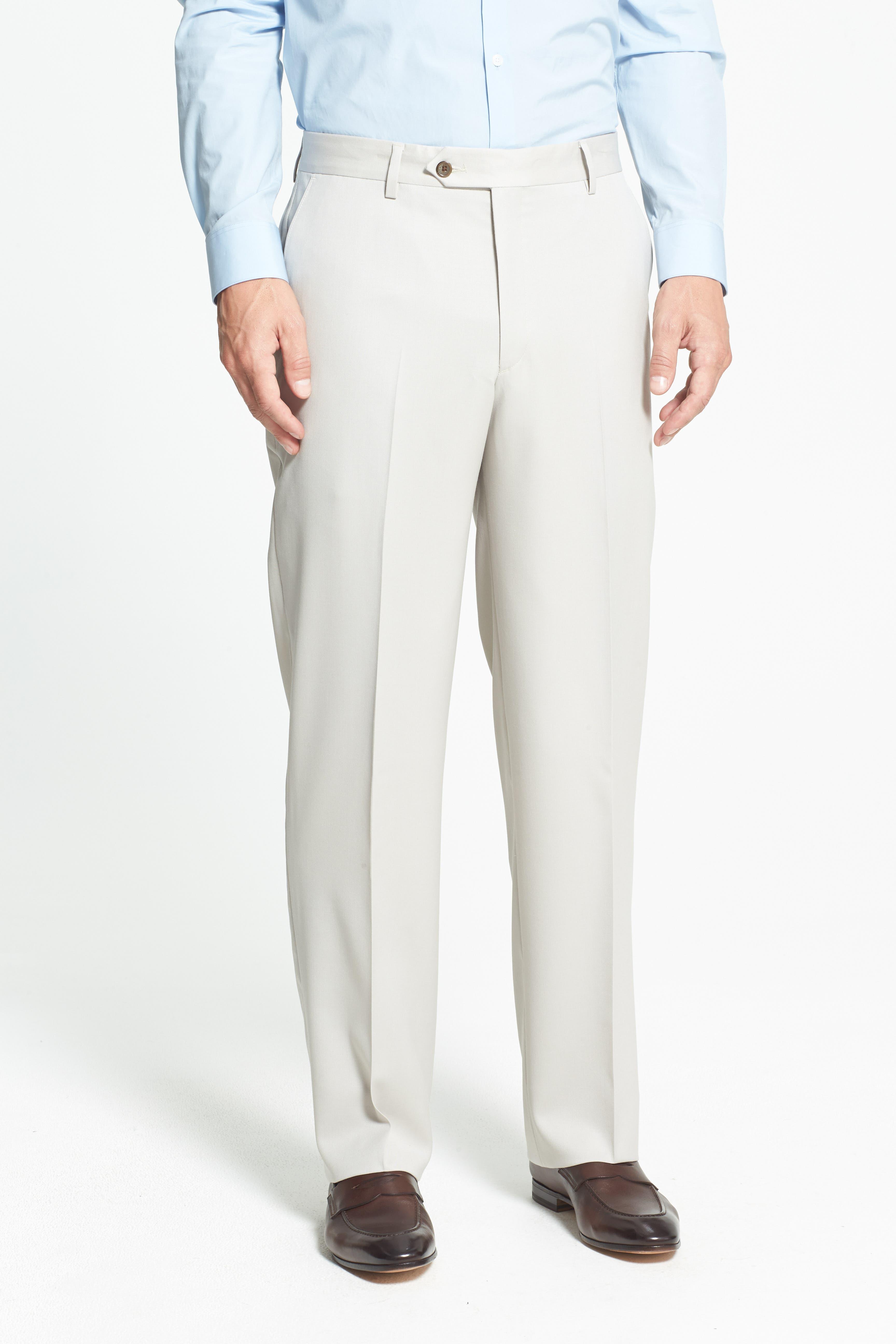 BERLE, Flat Front Wool Gabardine Trousers, Alternate thumbnail 2, color, STONE