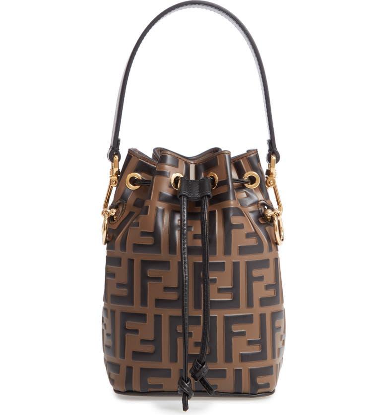 e51484a6c9ce Fendi Mini Mon Tresor Logo Calfskin Leather Bucket Bag - Brown In Tabacco