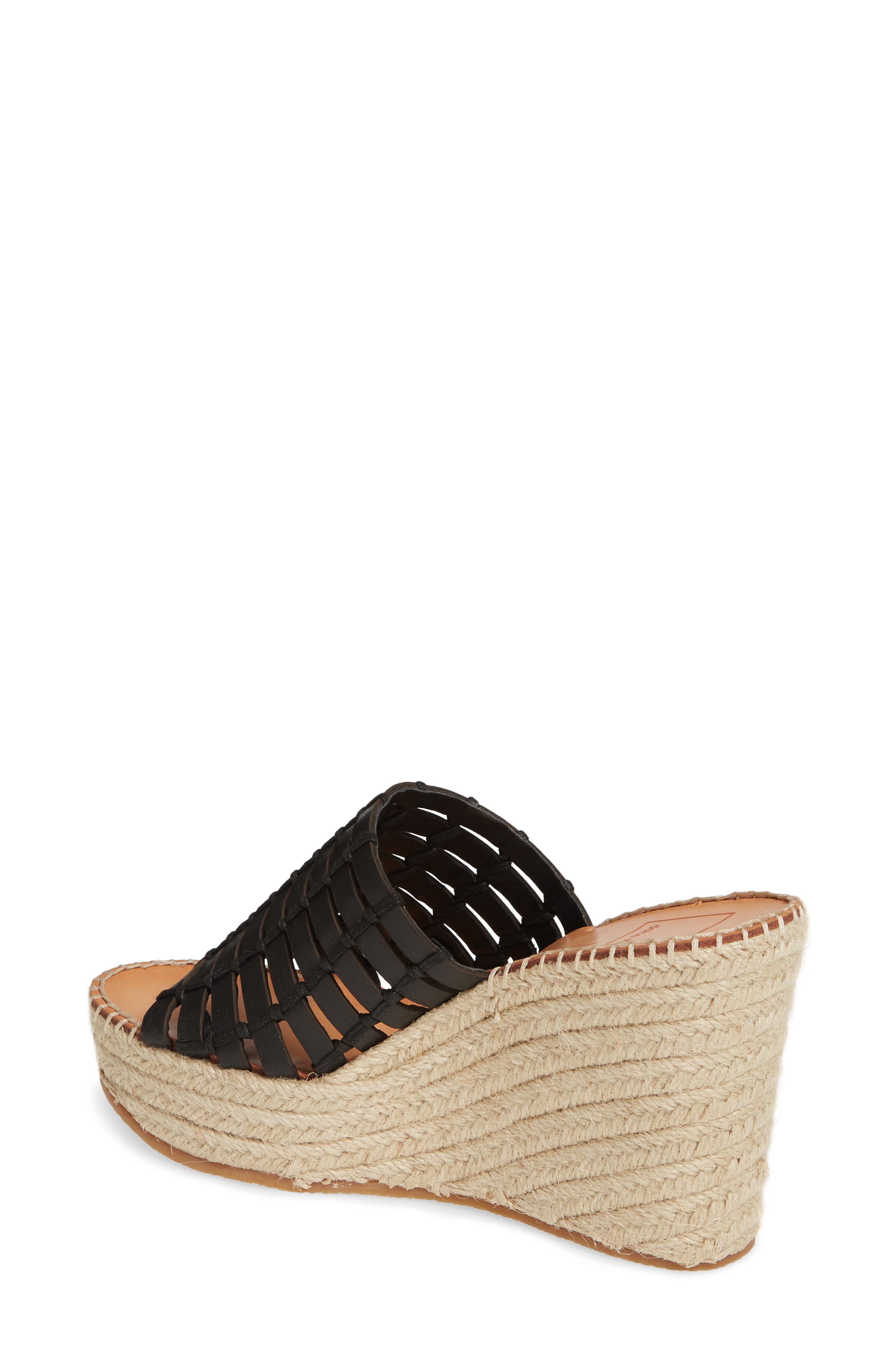 DOLCE VITA, Prue Espadrille Wedge Slide Sandal, Alternate thumbnail 2, color, BLACK LEATHER