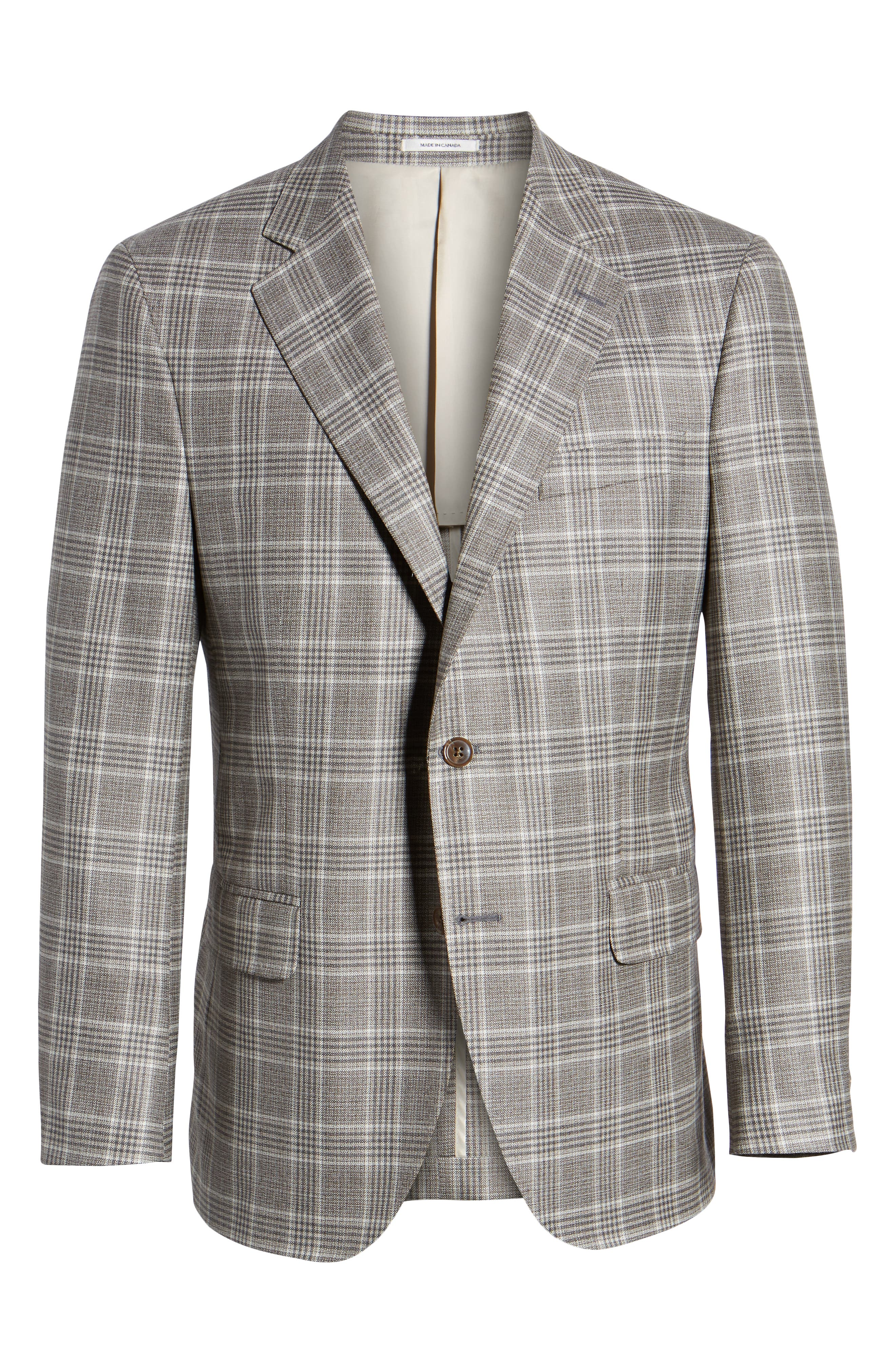 PETER MILLAR, Hyperlight Classic Fit Plaid Wool Sport Coat, Alternate thumbnail 5, color, GREY
