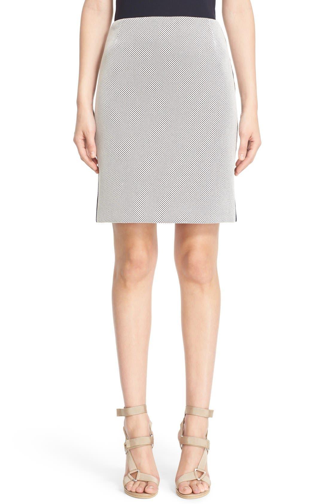 AKRIS PUNTO Side Stripe Mesh Pencil Skirt, Main, color, 900