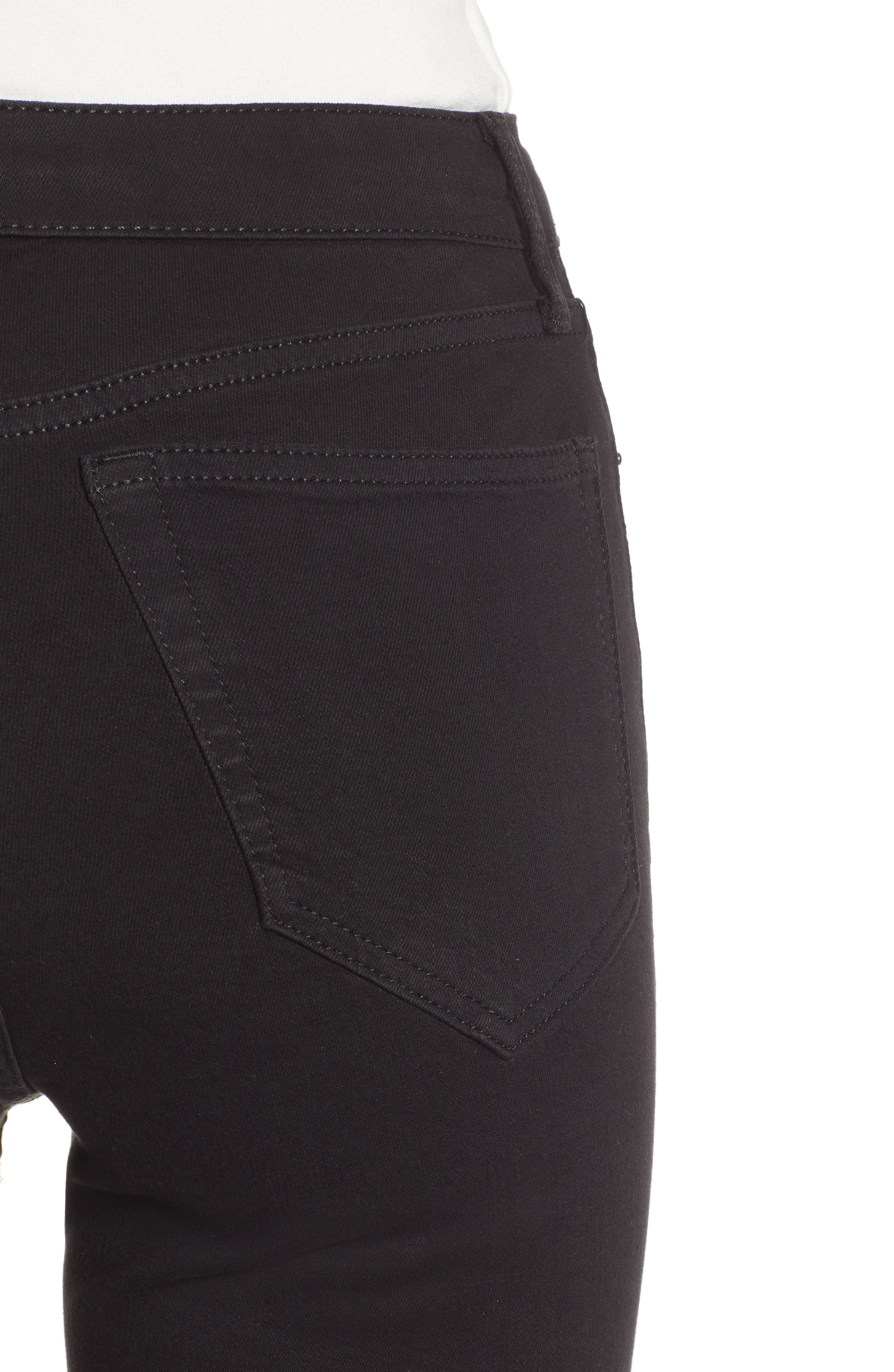 TOPSHOP, Jamie Flare Leg Jeans, Alternate thumbnail 5, color, OPEN BLACK