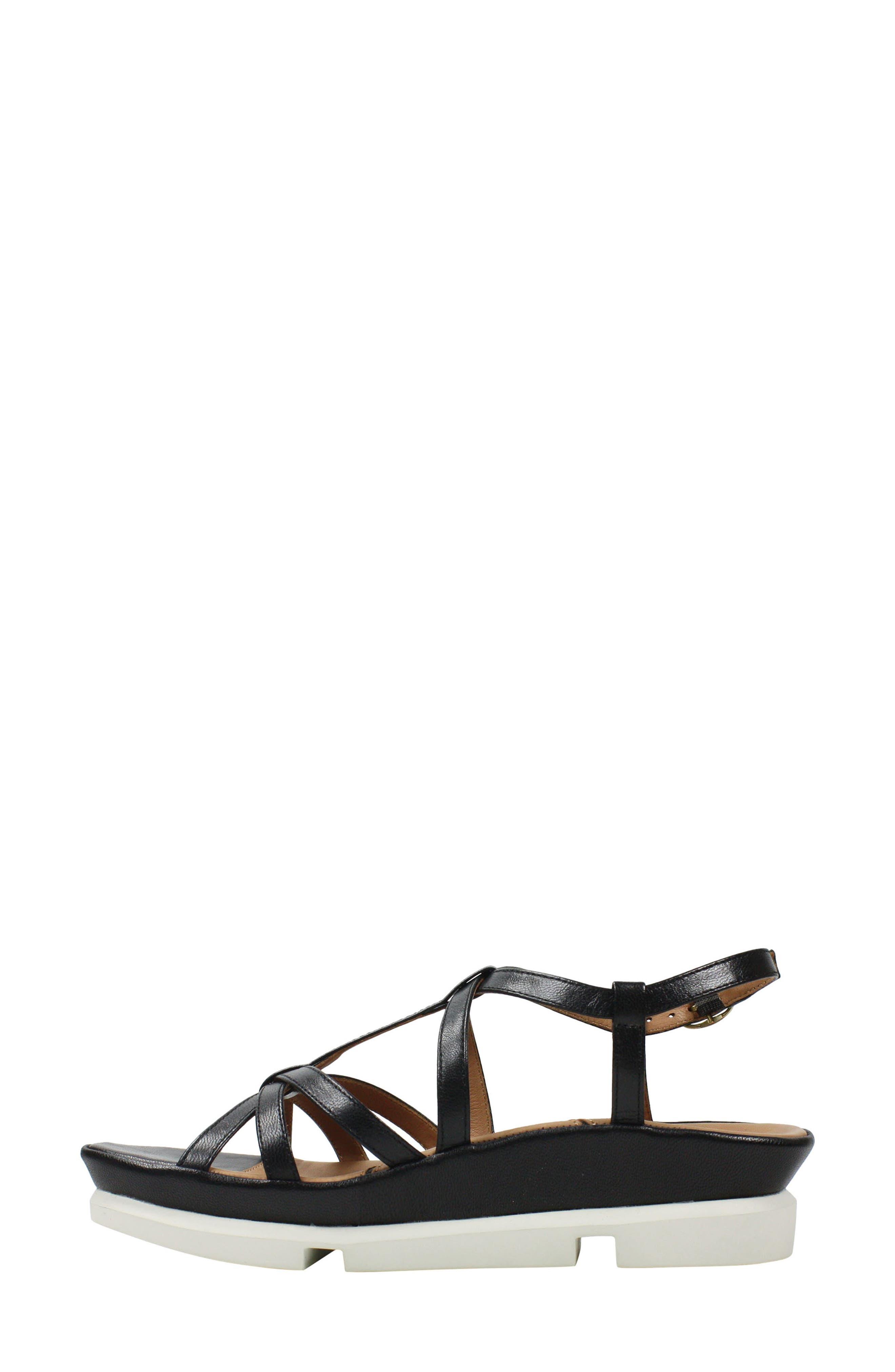 L'AMOUR DES PIEDS, Vanassa Sandal, Alternate thumbnail 6, color, BLACK LEATHER