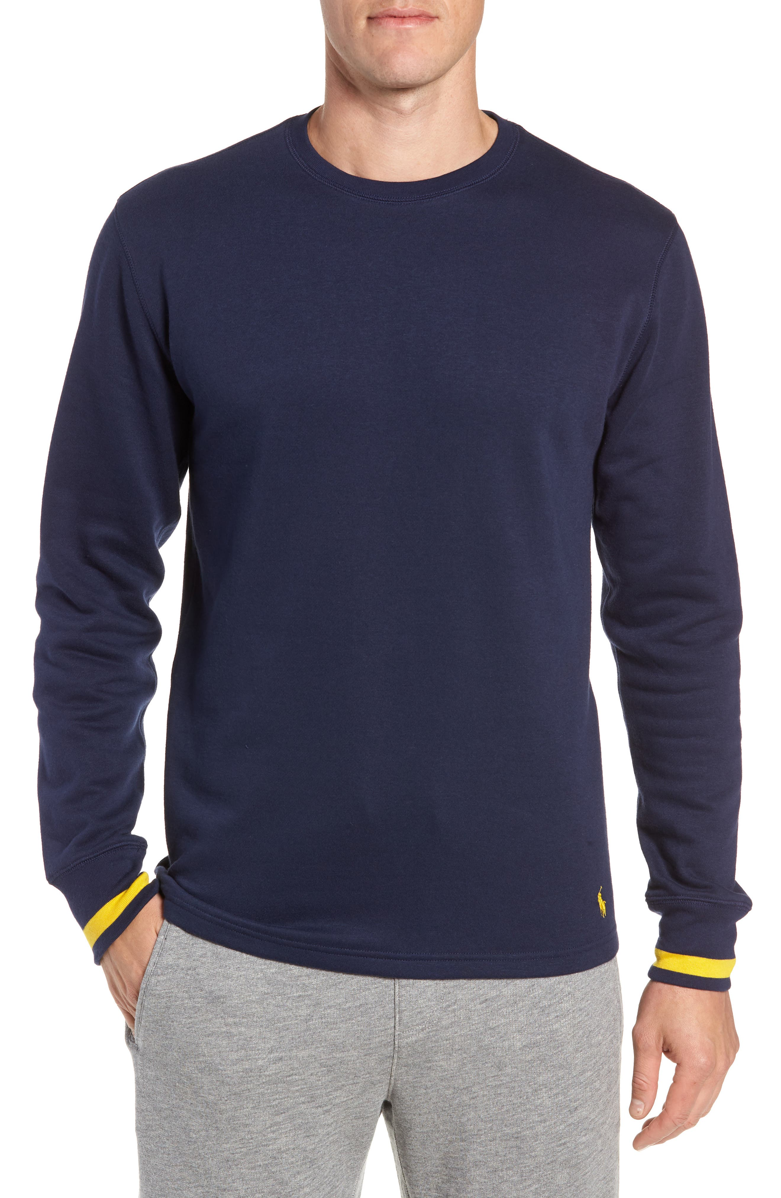 POLO RALPH LAUREN, Brushed Jersey Cotton Blend Crewneck Sweatshirt, Main thumbnail 1, color, CRUISE NAVY