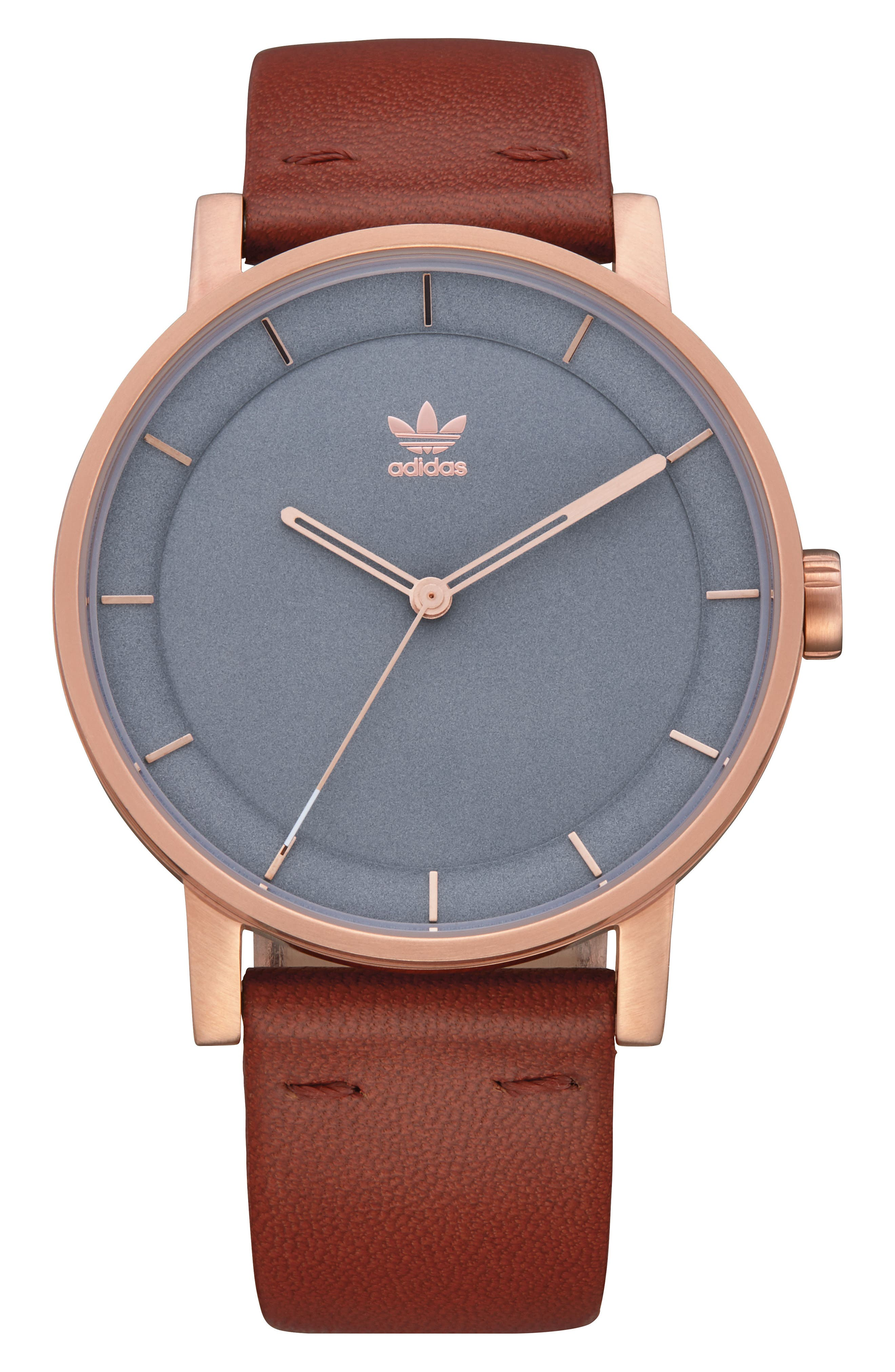 ADIDAS, District Leather Strap Watch, 40mm, Main thumbnail 1, color, SADDLE/ SLATE/ ROSE GOLD