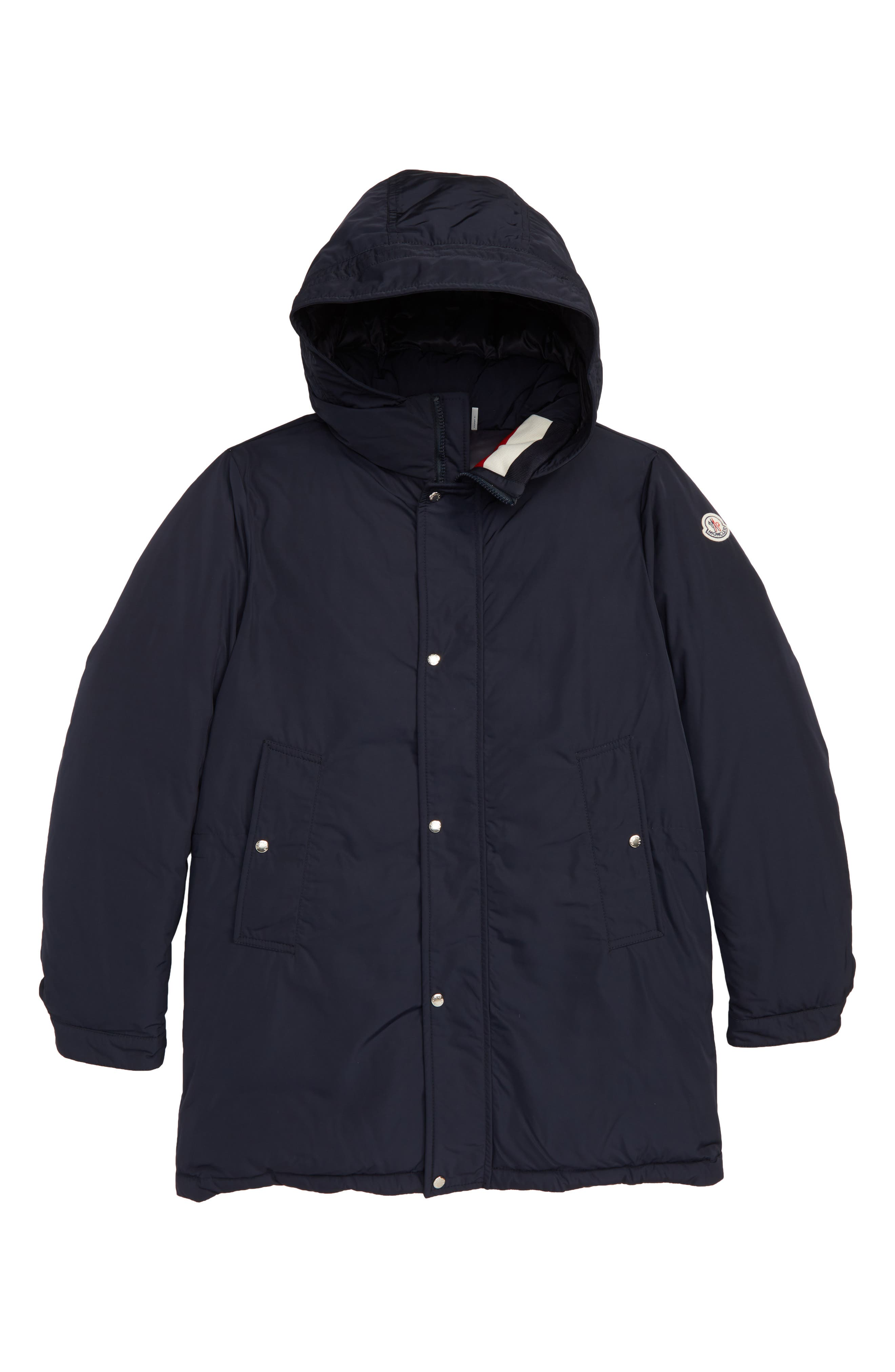MONCLER, Layon Hooded Long Down Coat, Main thumbnail 1, color, NAVY
