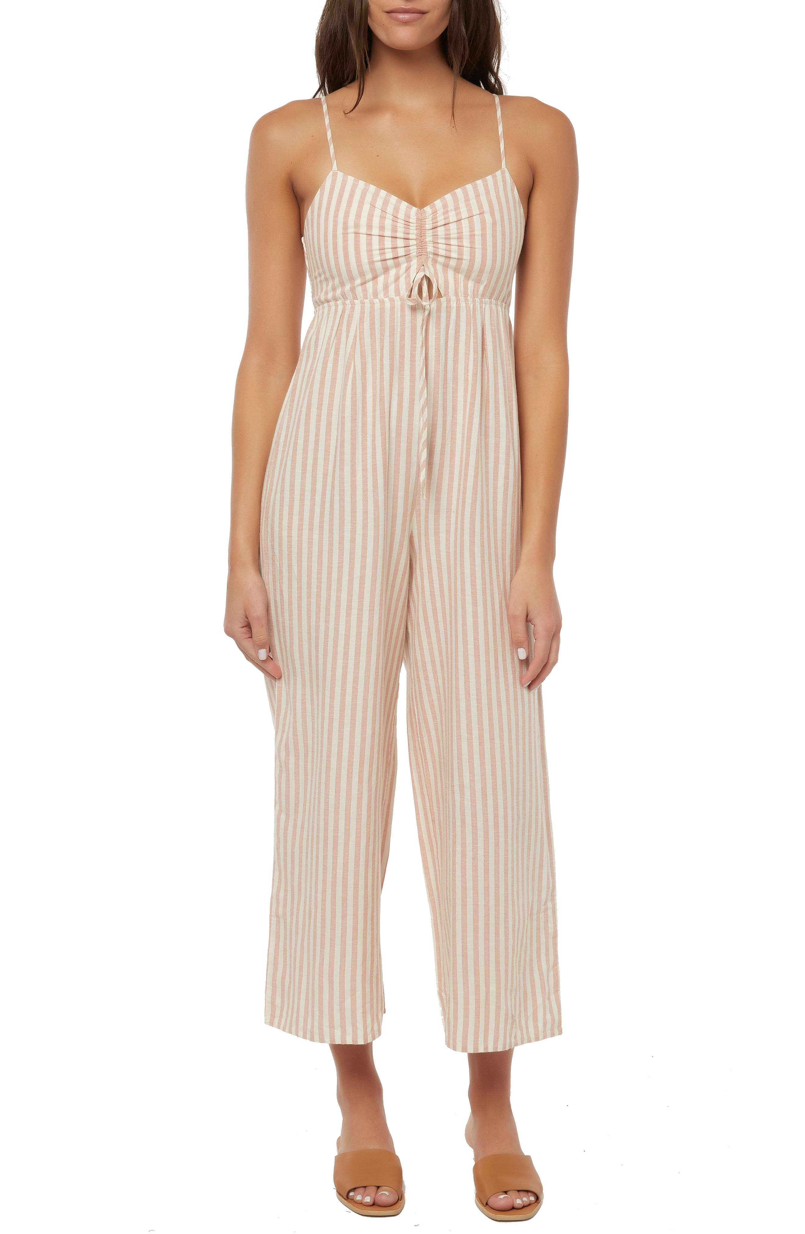 O'NEILL, Anabella Stripe Ruched Jumpsuit, Main thumbnail 1, color, NAKED