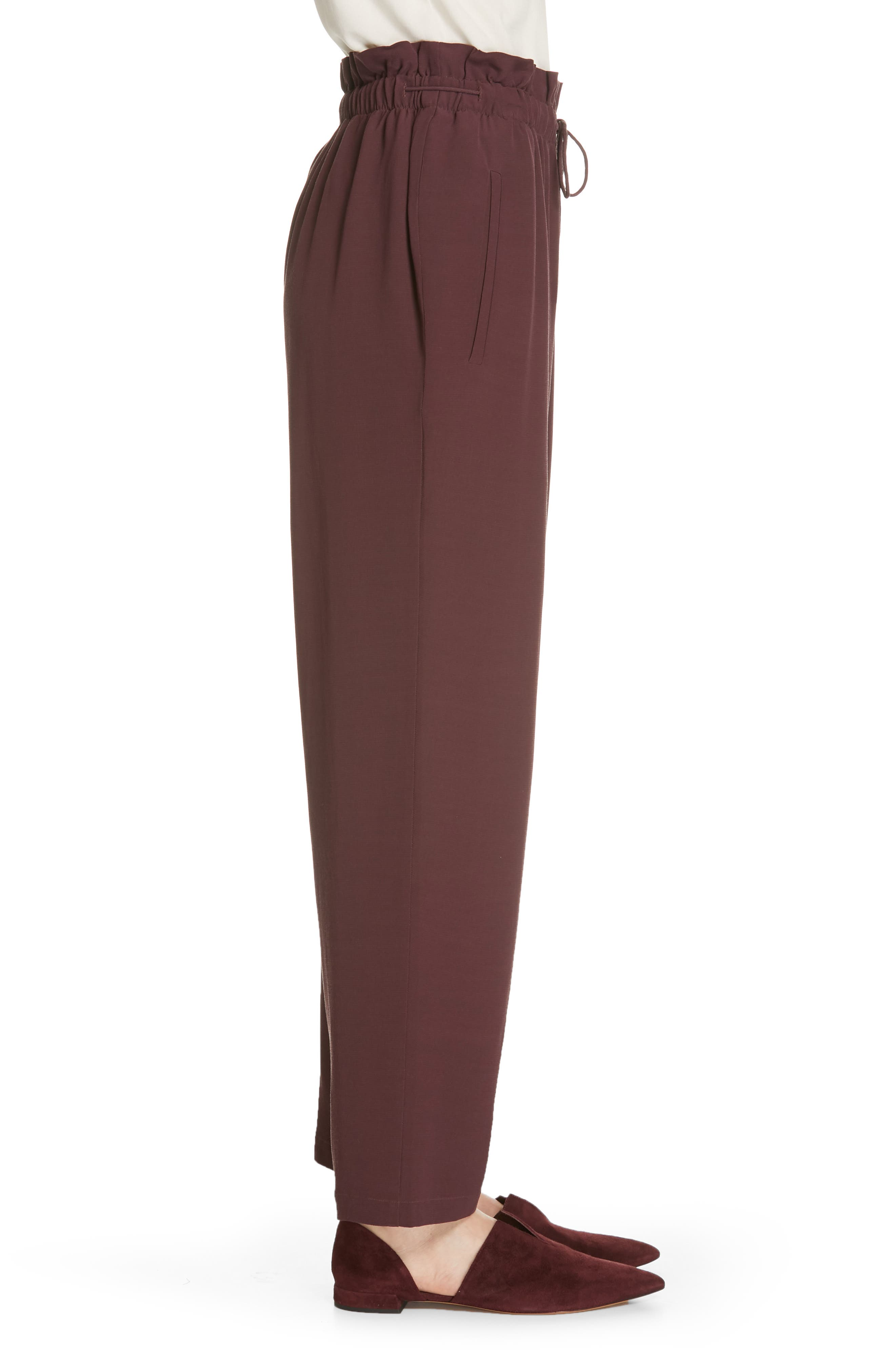 EILEEN FISHER, Crepe Pants, Alternate thumbnail 4, color, CASSIS