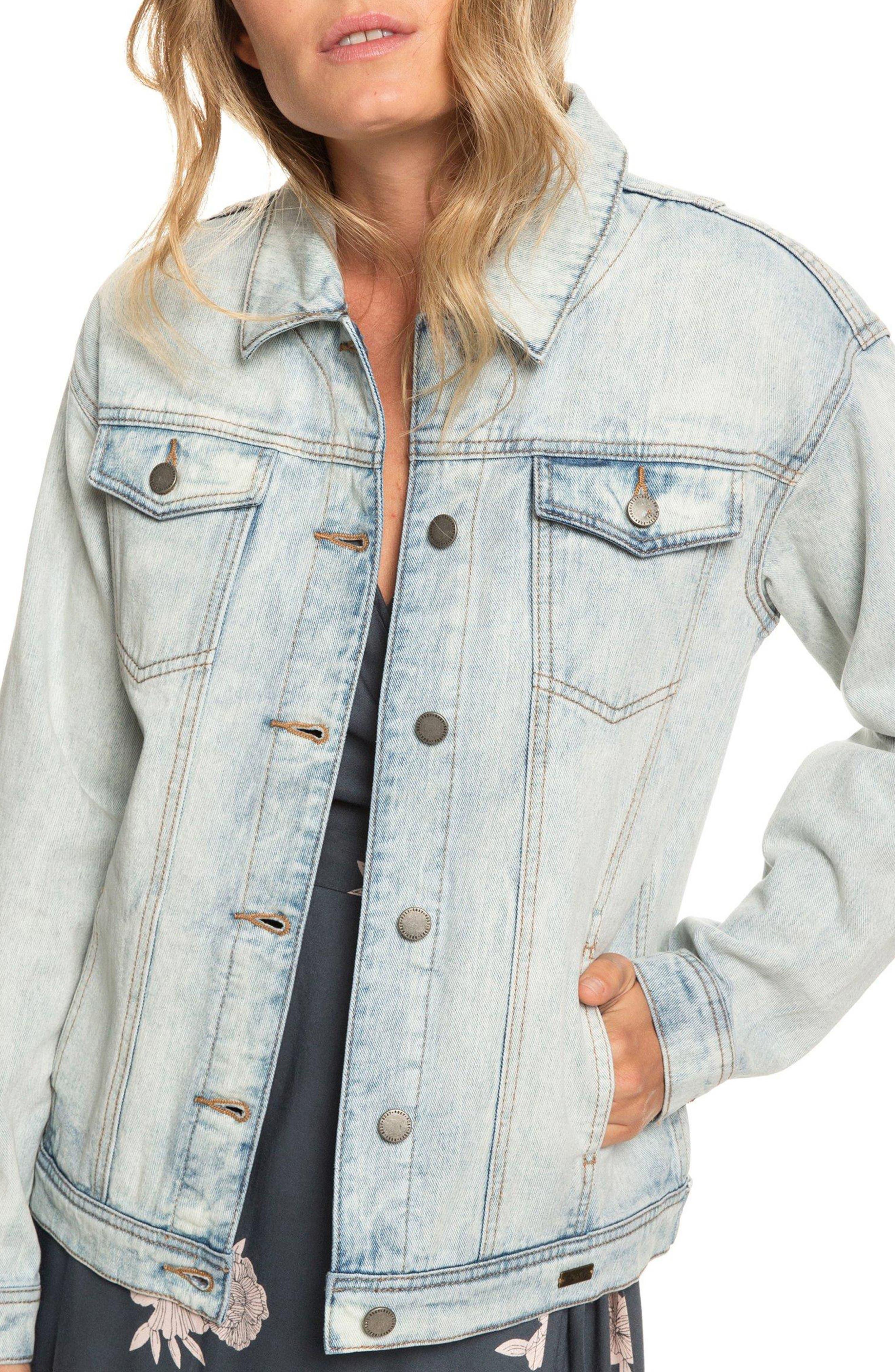 ROXY Midnight Drive Denim Boyfriend Jacket, Main, color, BLEACHED BLUE