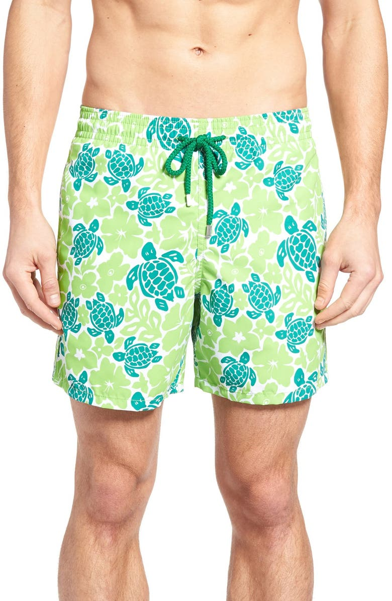d50877725a3db VILEBREQUIN Hawaiian Turtle Print Swim Trunks, Main, color, 350