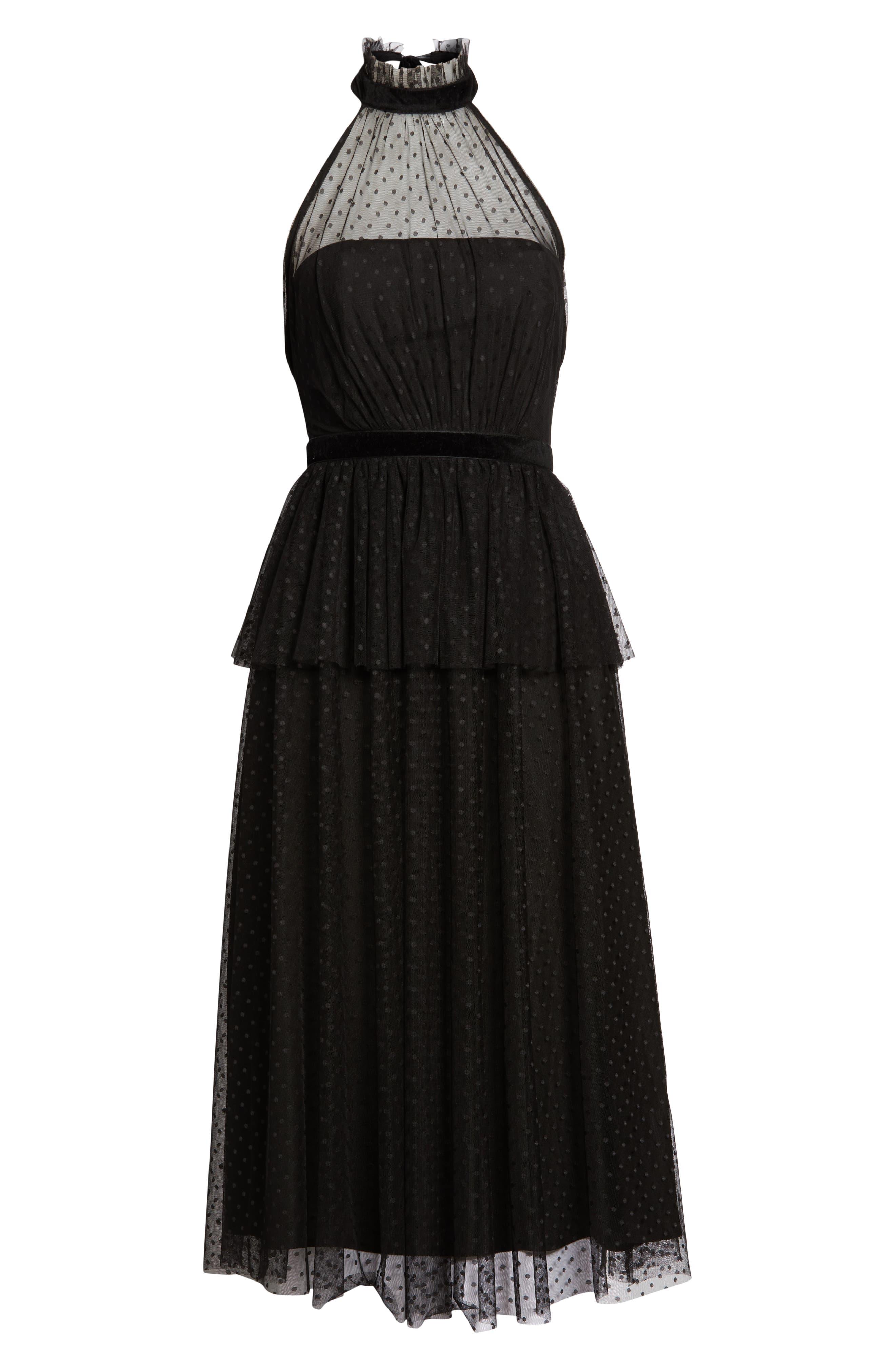 AVEC LES FILLES, Tiered Tulle Dress, Alternate thumbnail 7, color, BLACK
