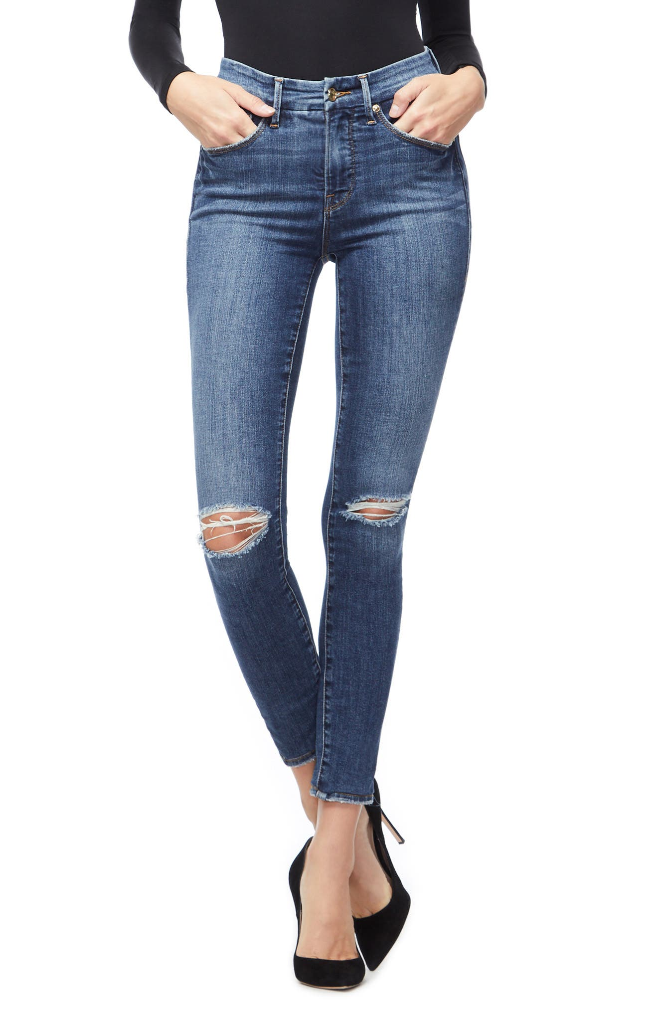 GOOD AMERICAN, Good Legs Ripped High Waist Skinny Jeans, Main thumbnail 1, color, BLUE208