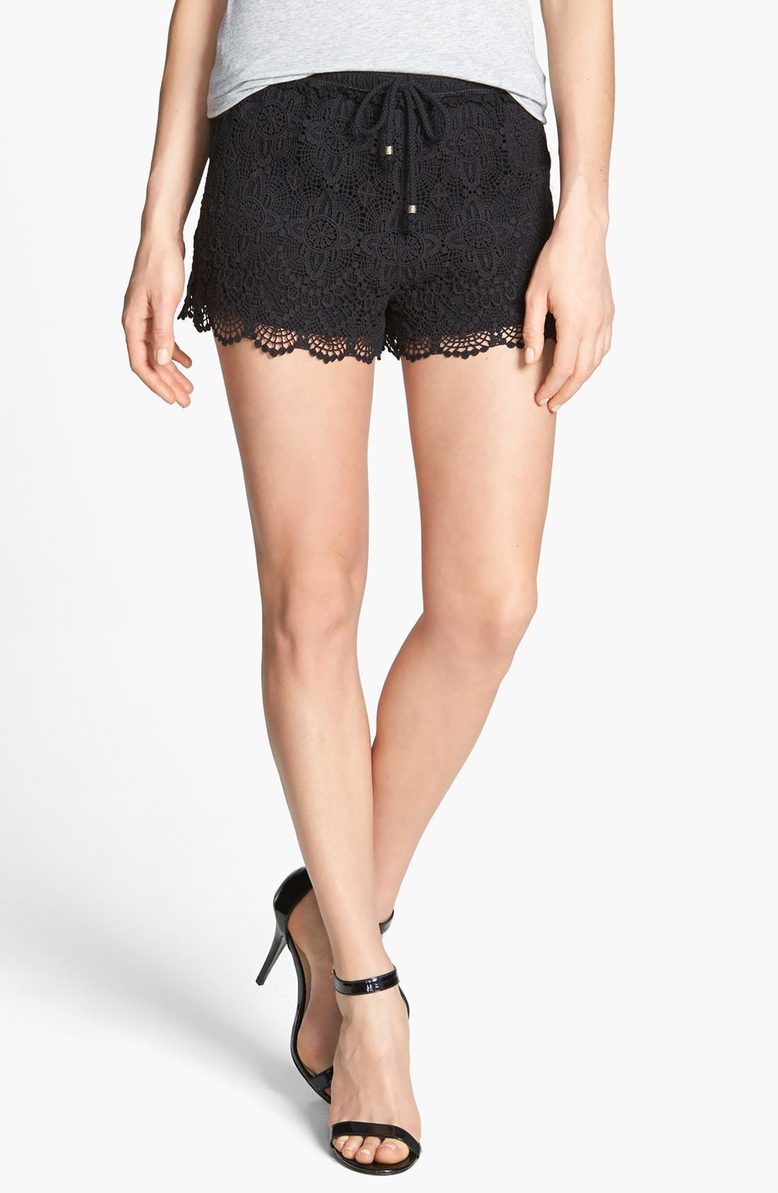 TWO BY VINCE CAMUTO, Floral Lace Shorts, Main thumbnail 1, color, 001