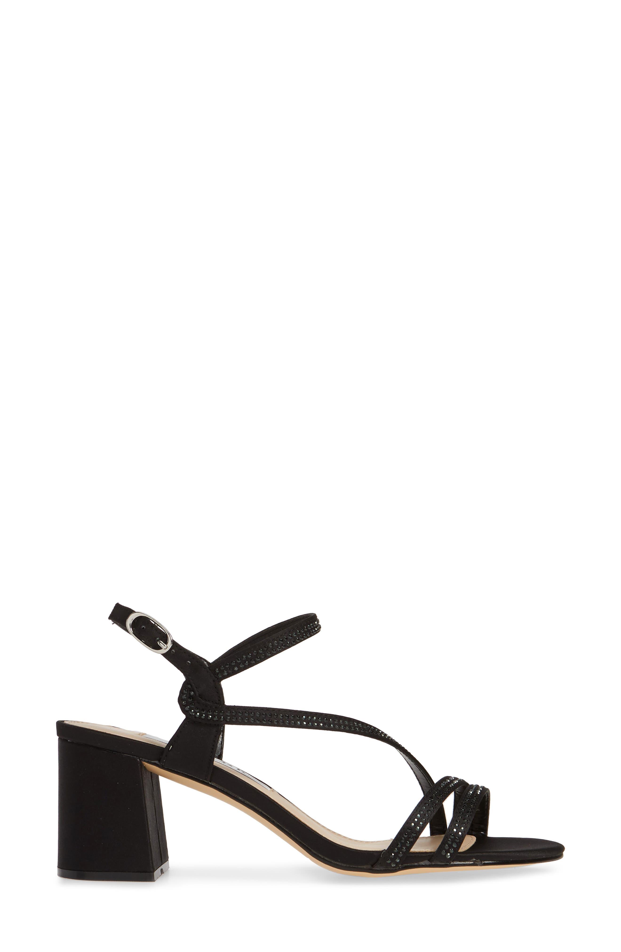 NINA, Naura Block Heel Sandal, Alternate thumbnail 3, color, BLACK SATIN