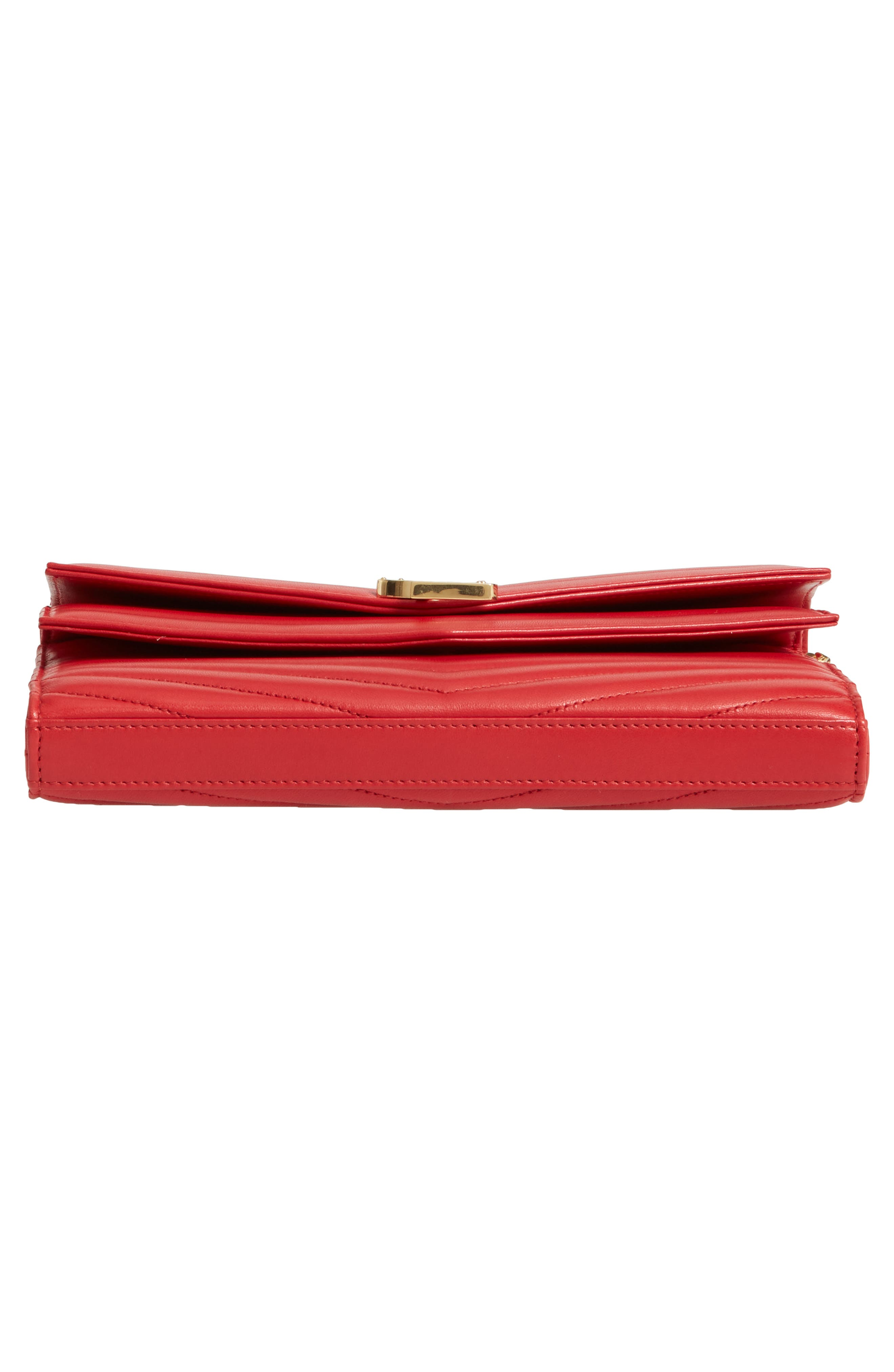 SAINT LAURENT, Sulpice Leather Crossbody Wallet, Alternate thumbnail 6, color, BANDANA RED