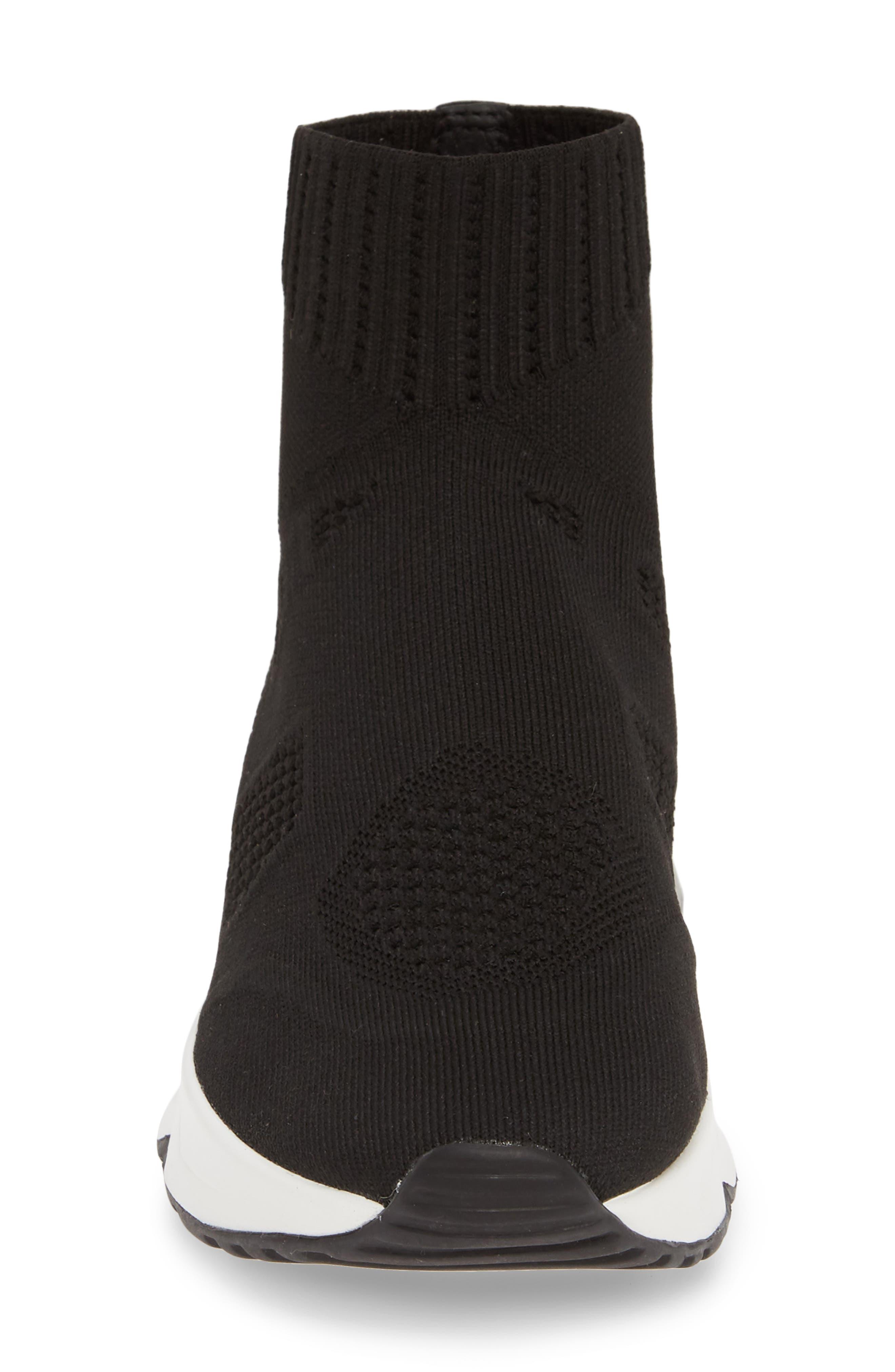 ASH, Knit Sneaker Bootie, Alternate thumbnail 4, color, BLACK