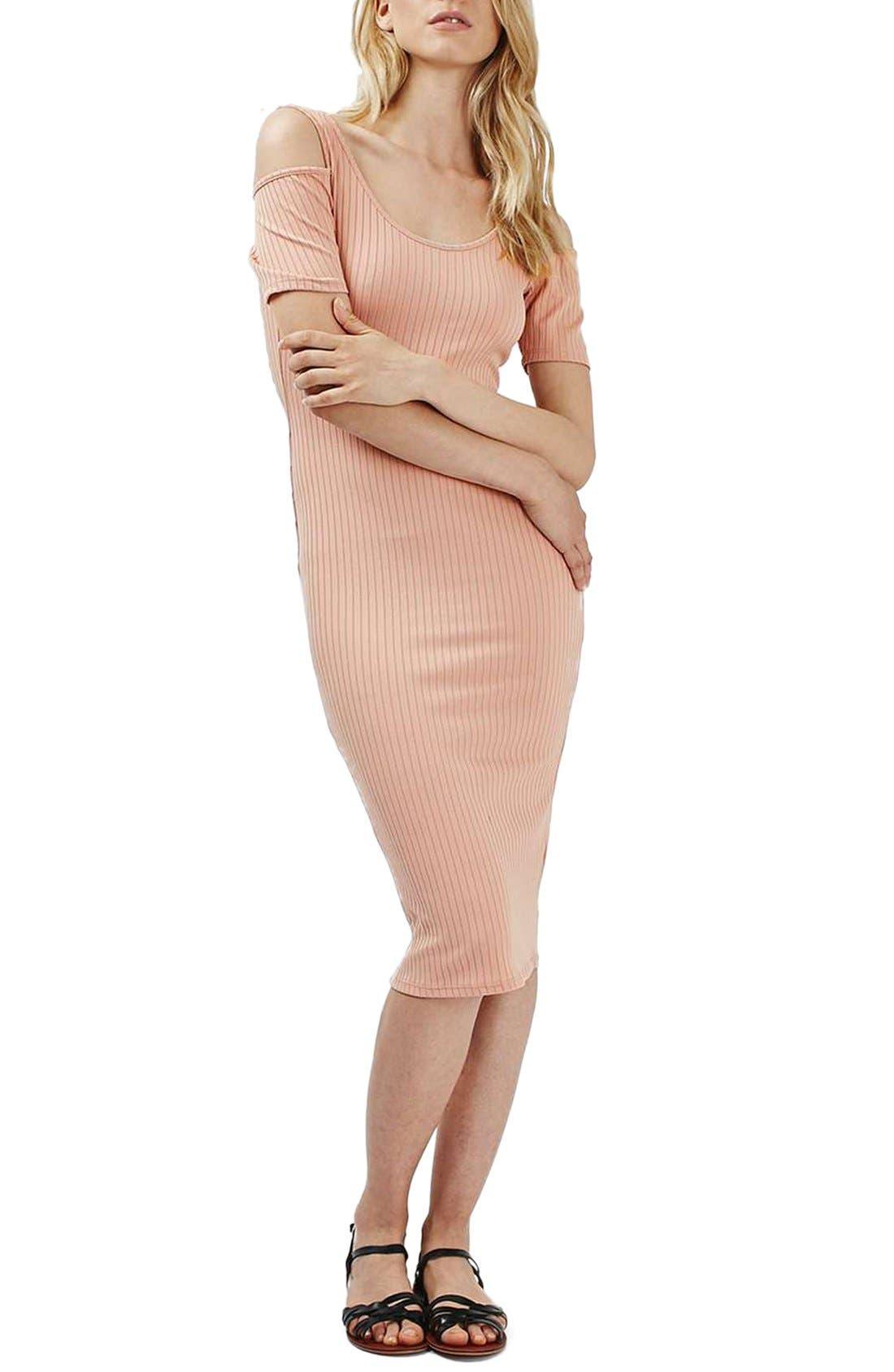 TOPSHOP Cold Shoulder Ribbed Midi Dress, Main, color, 250