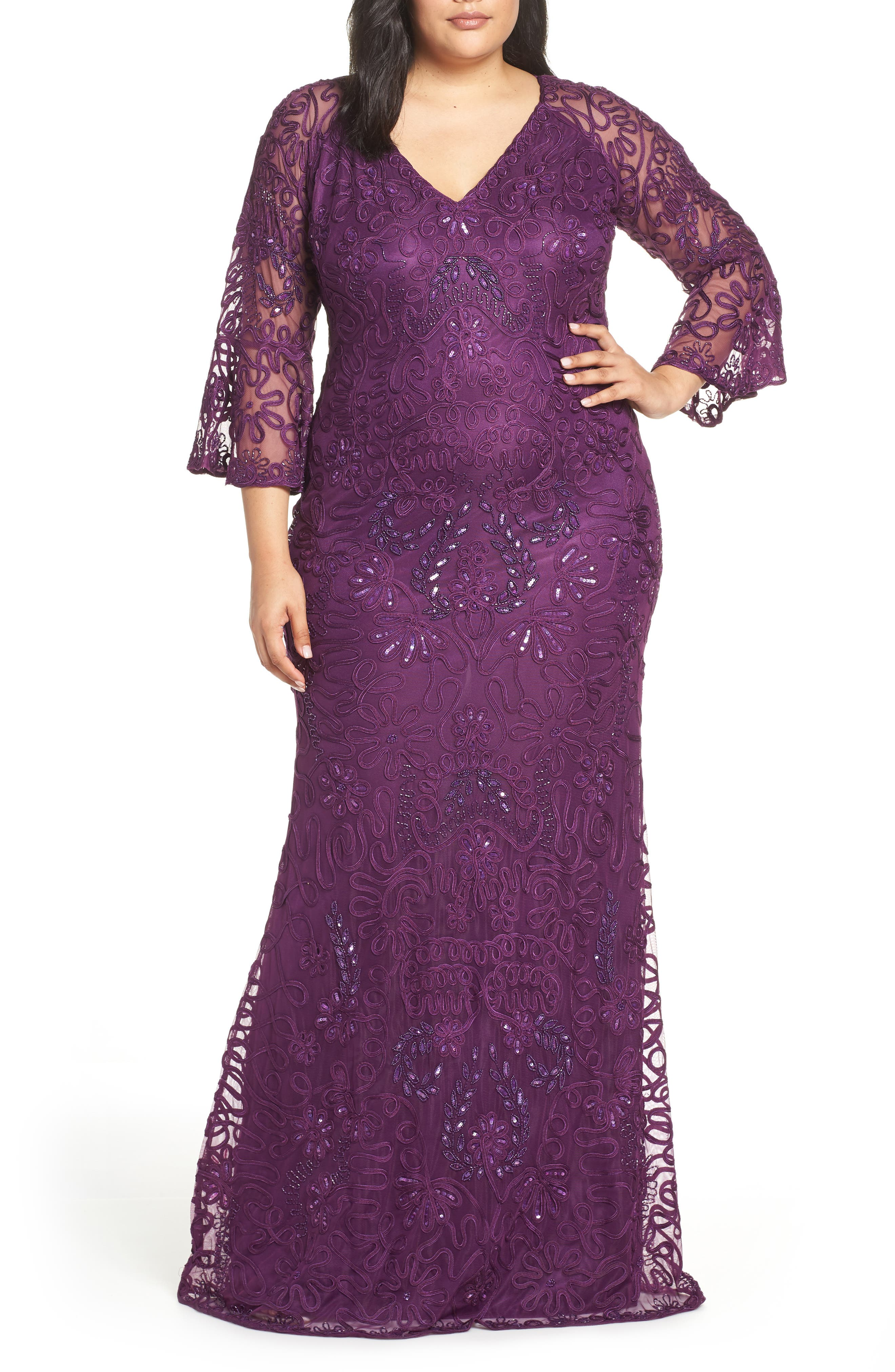 Plus Size Js Collections Bell Sleeve Bead & Soutache Gown, Purple