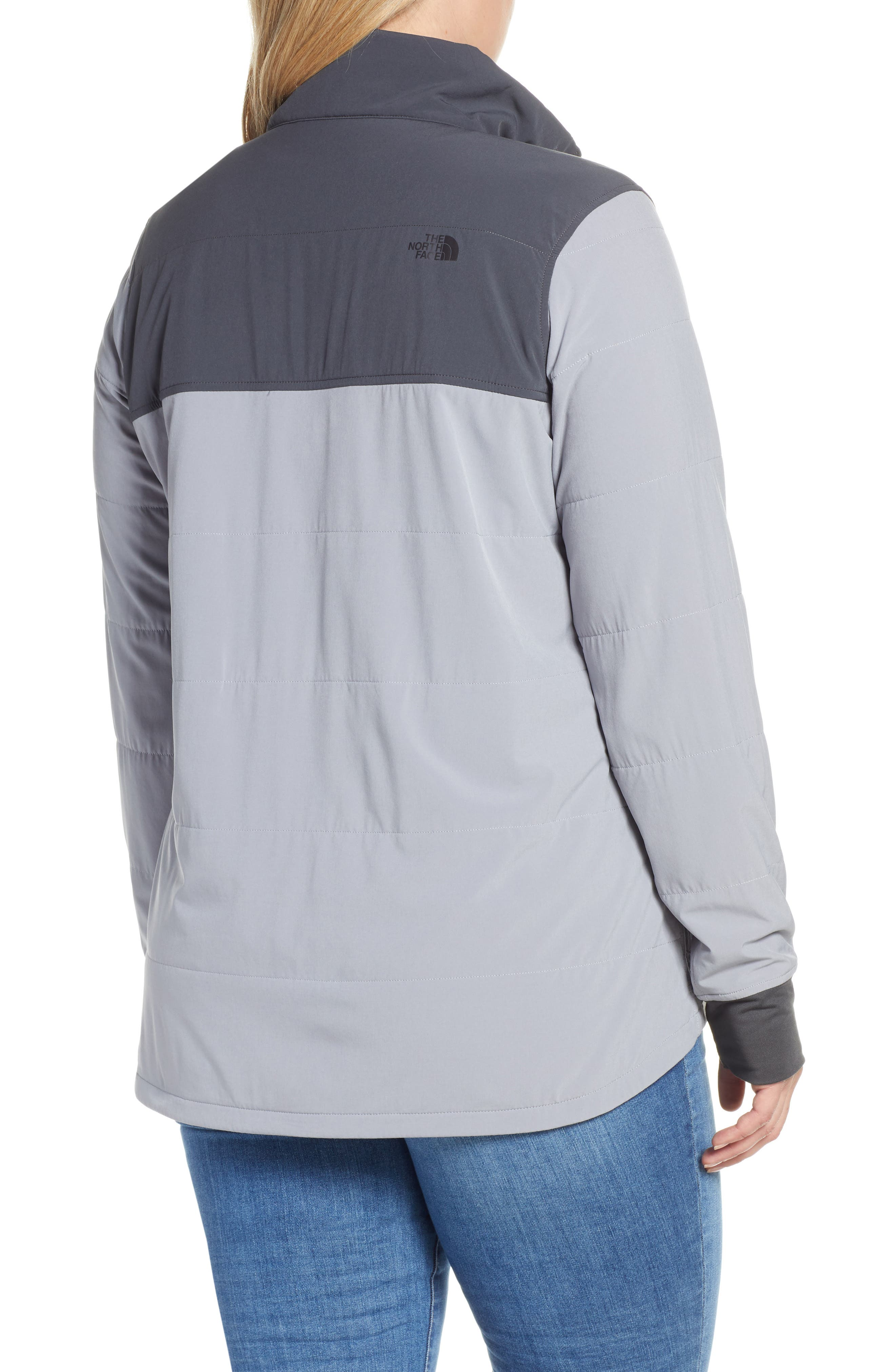 THE NORTH FACE, Mountain Insulated Snap Pullover Jacket, Alternate thumbnail 3, color, GREY/ MID GREY
