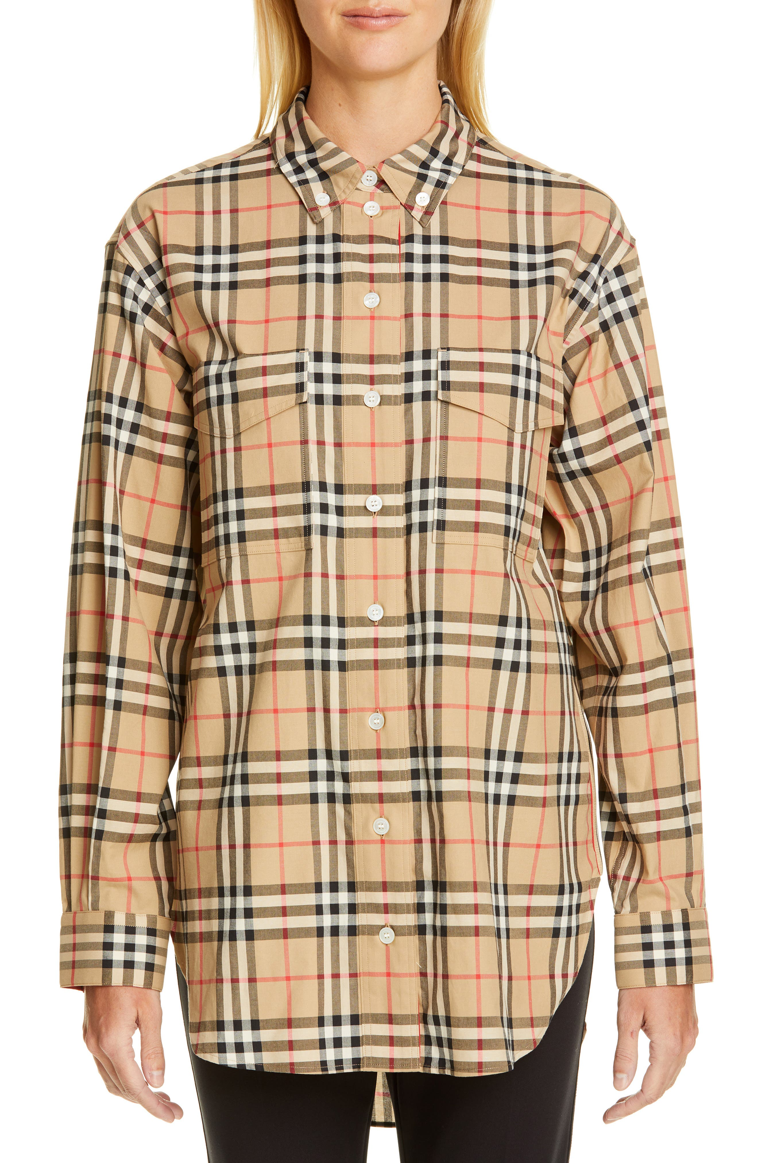 BURBERRY, Turnstone Check Shirt, Main thumbnail 1, color, ARCHIVE BEIGE IP CHK