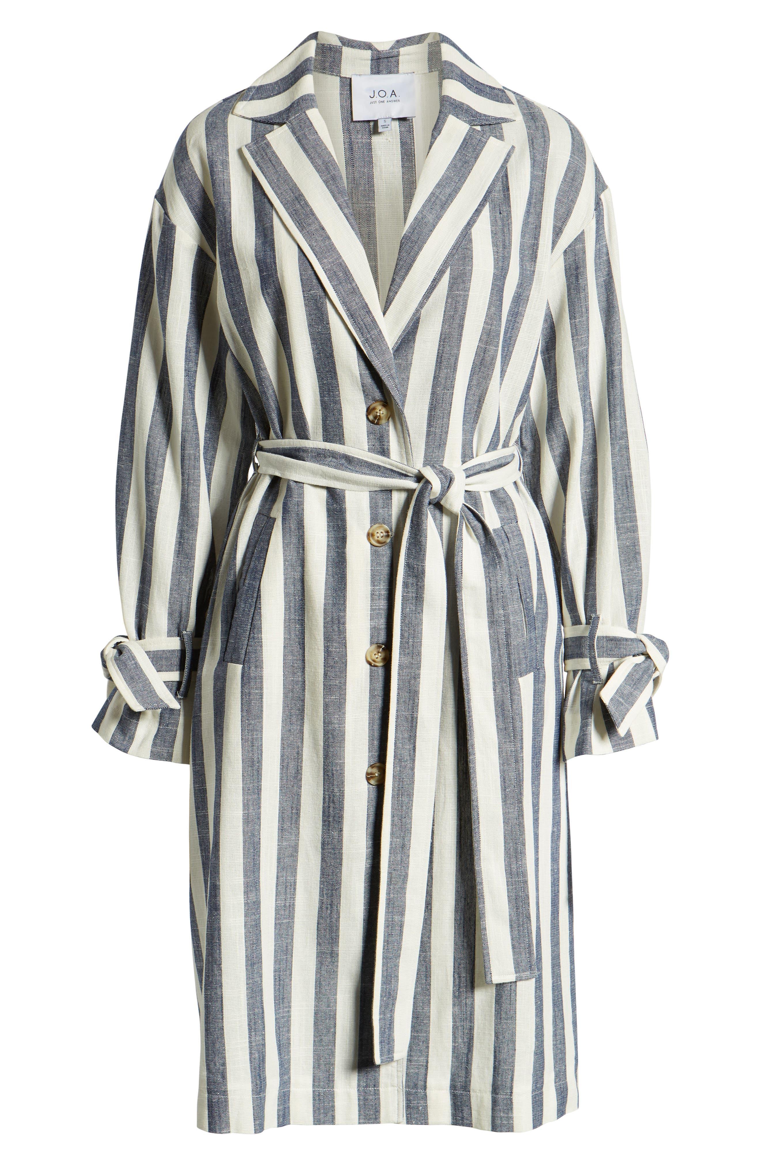 J.O.A., Stripe Cotton & Linen Shirtdress, Alternate thumbnail 7, color, NAVY/ WHITE STRIPE