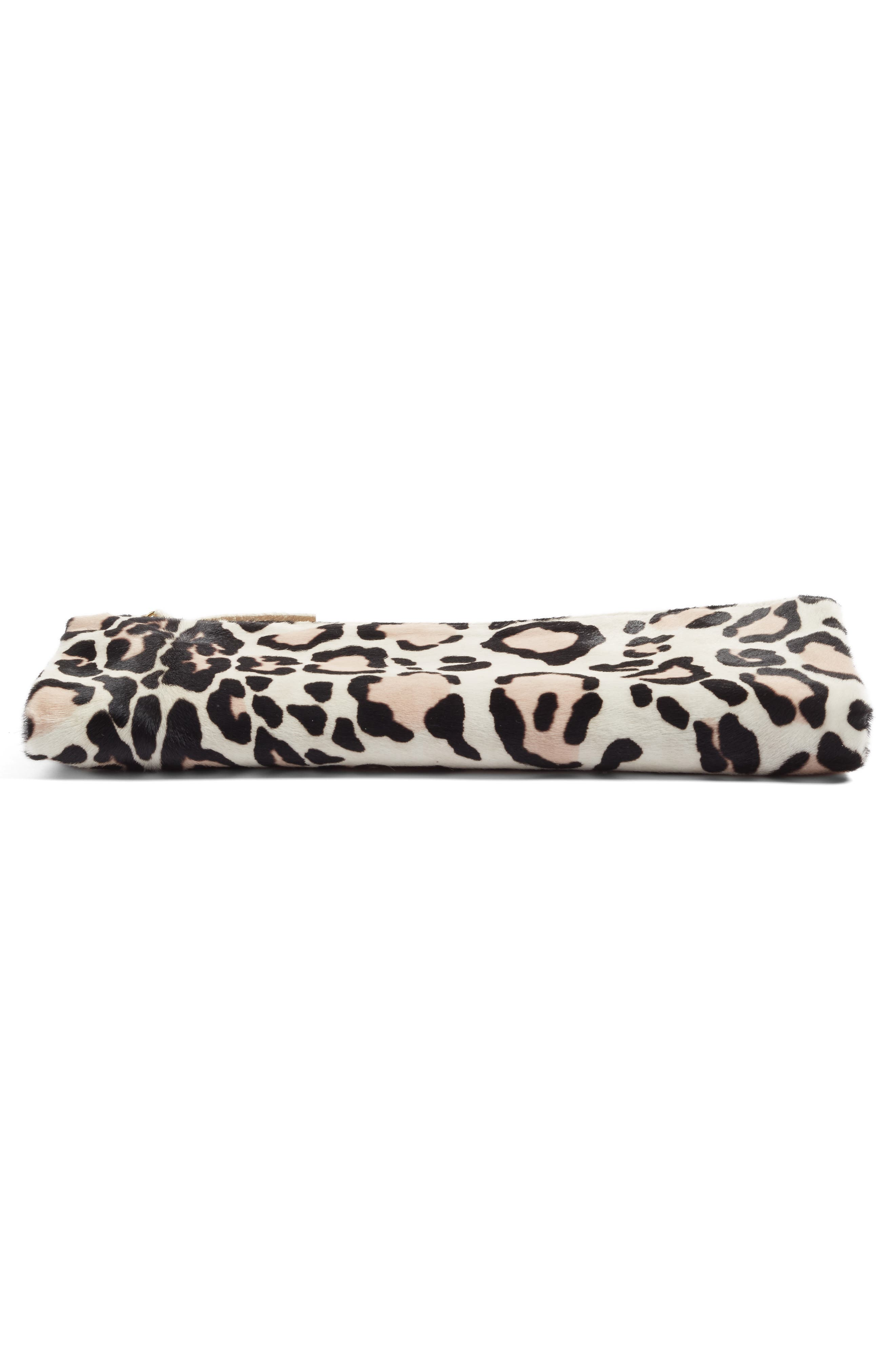 CLARE V., Genuine Calf Hair Foldover Clutch, Alternate thumbnail 5, color, 900