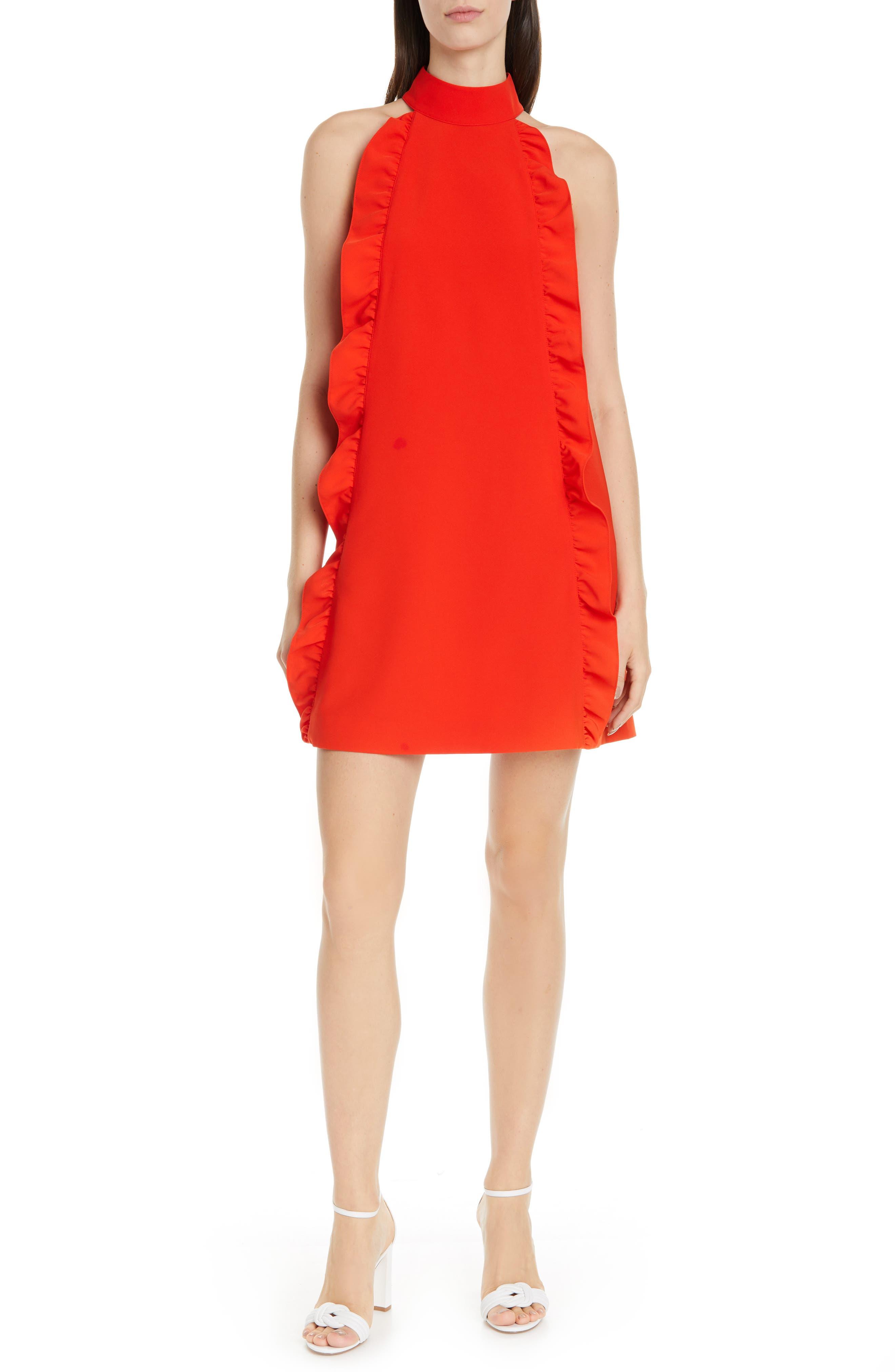 Ted Baker London Torriya Ruffle Tunic Dress, Orange