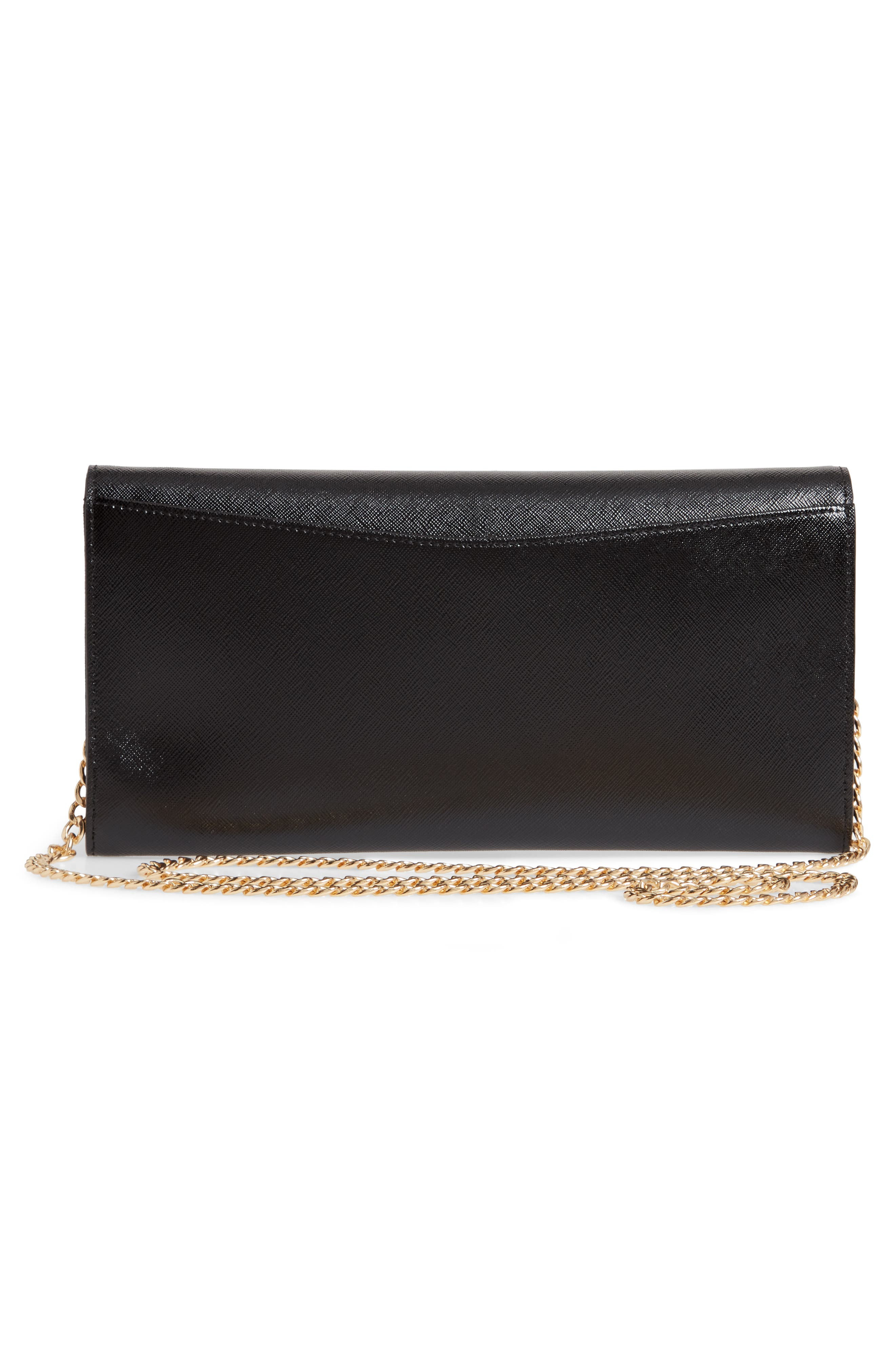 NORDSTROM, Selena Leather Clutch, Alternate thumbnail 3, color, BLACK